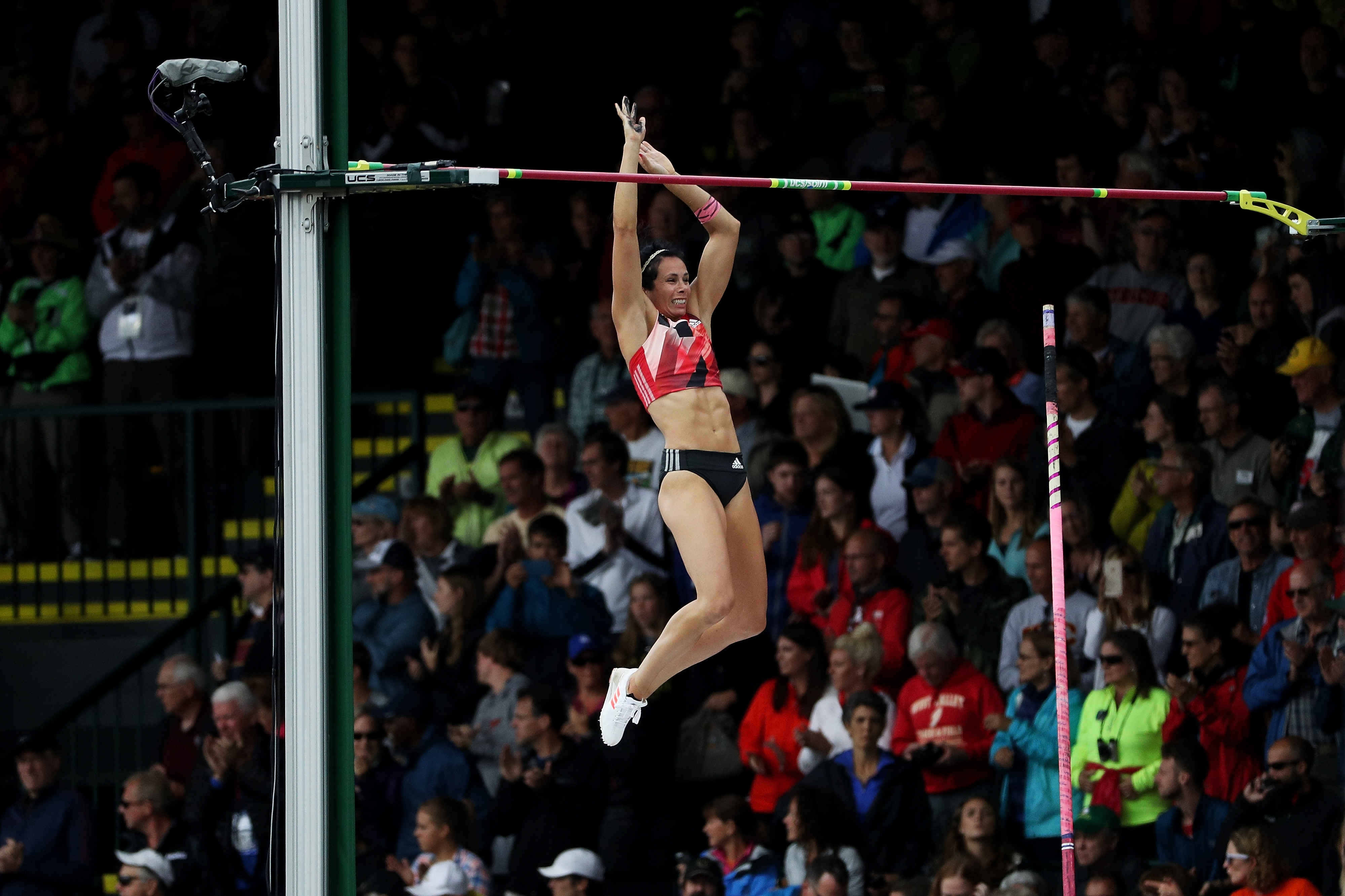 Jenn Suhr competes on her way to placing first in the Women's Pole Vault Final during the 2016 U.S. Olympic Track & Field Team Trials at Hayward Field on July 10, 2016 in Eugene, Oregon.