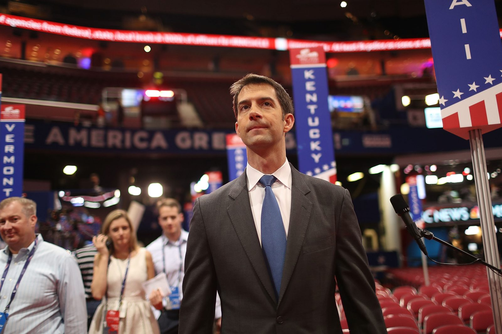 CLEVELAND, OH - JULY 17:  Sen. Tom Cotton (R-AR) visits the Quicken Loans Arena ahead of the Republican National Convention on July 17, 2016 in Cleveland, Ohio. The RNC is set for July 18-21 at the arena.  (Photo by Joe Raedle/Getty Images)