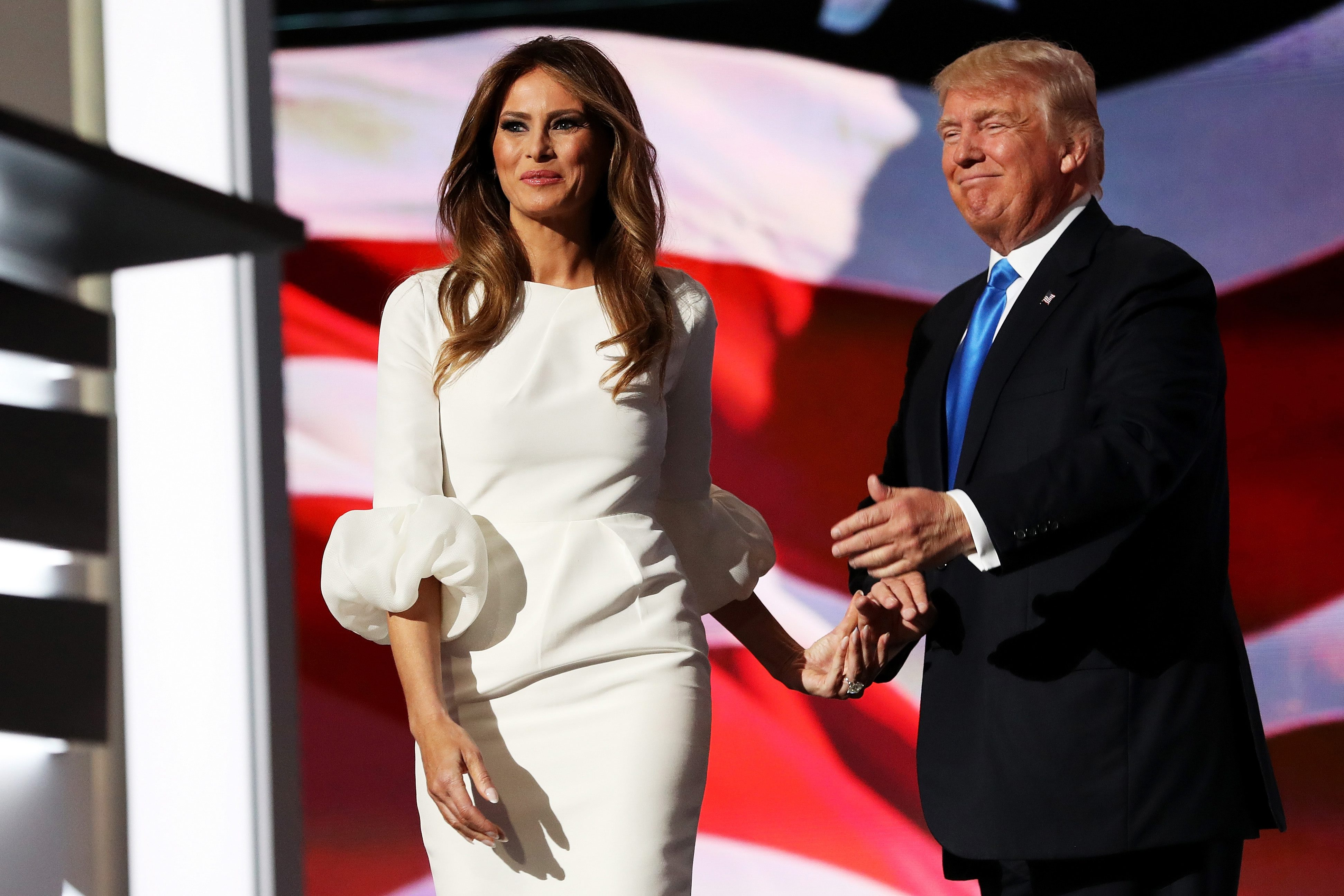 CLEVELAND, OH - JULY 18:  Melania Trump prepares to deliver her speech at RNC Monday.  (Photo by Joe Raedle/Getty Images)