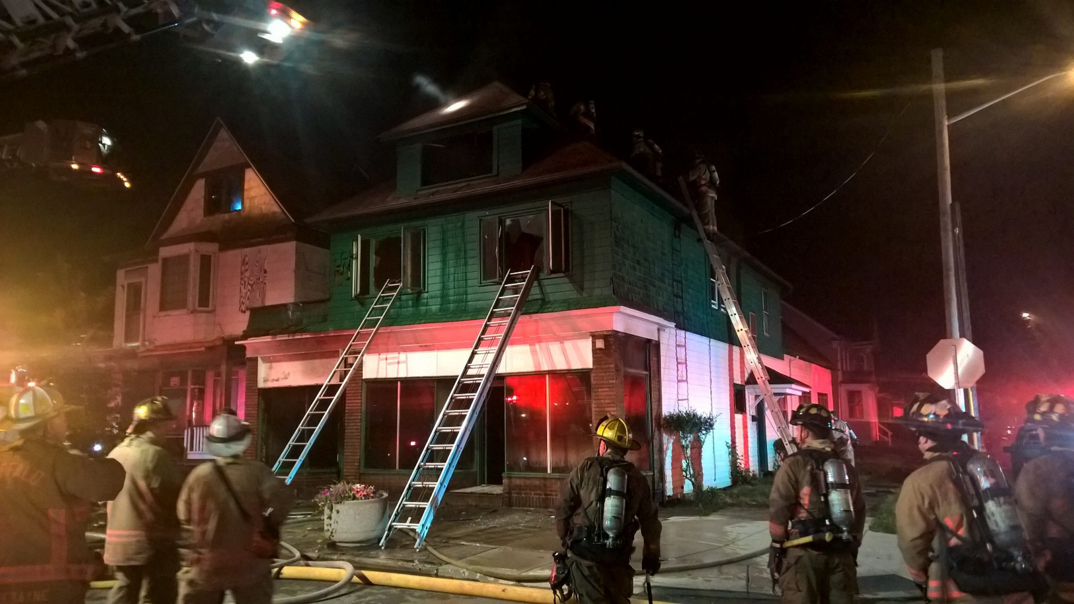 Buffalo firefighters at the scene of the blaze on Lovejoy Street overnight.