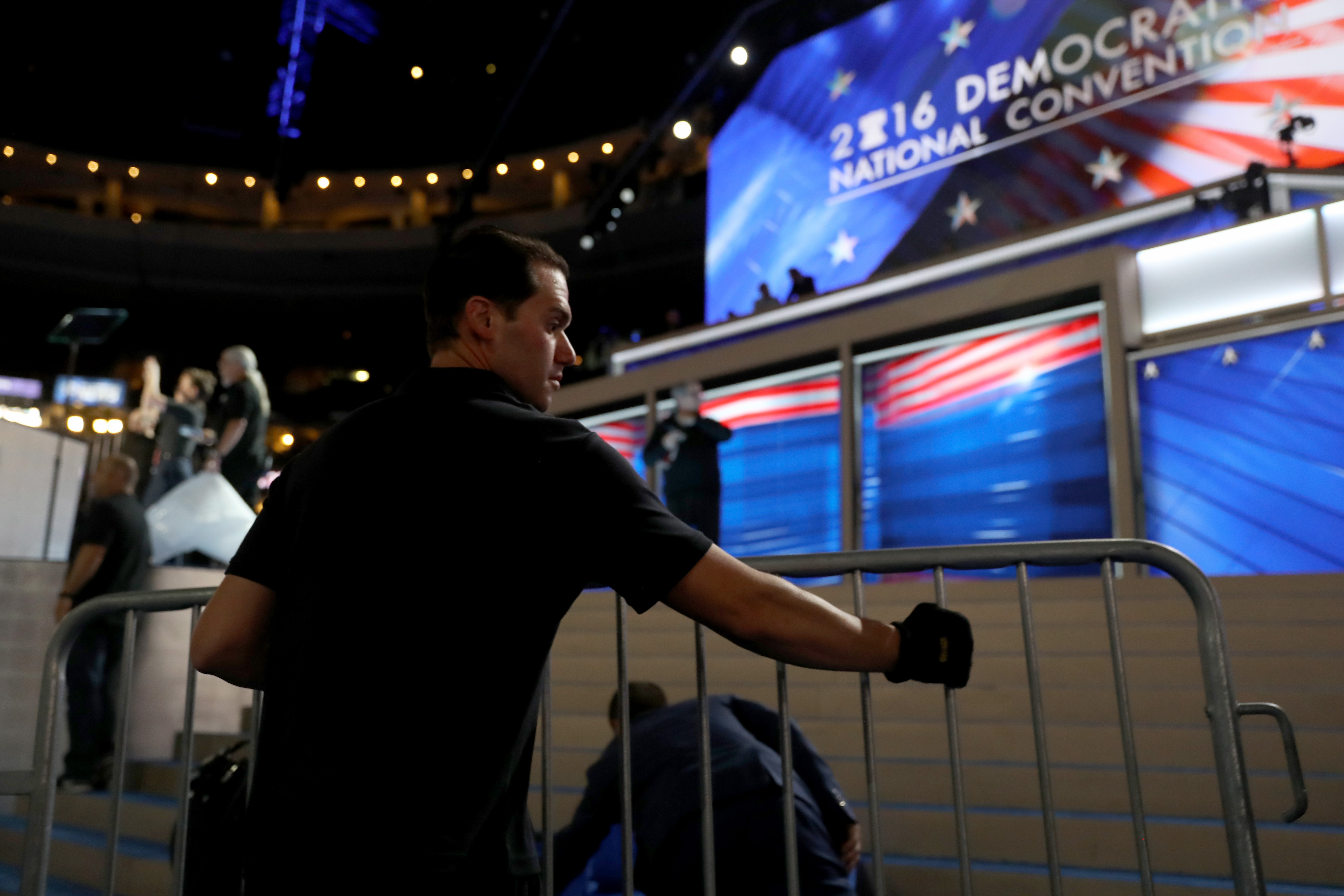 Workers prepare the stage at the Democratic National Convention at the Wells Fargo Center. (Getty Images)