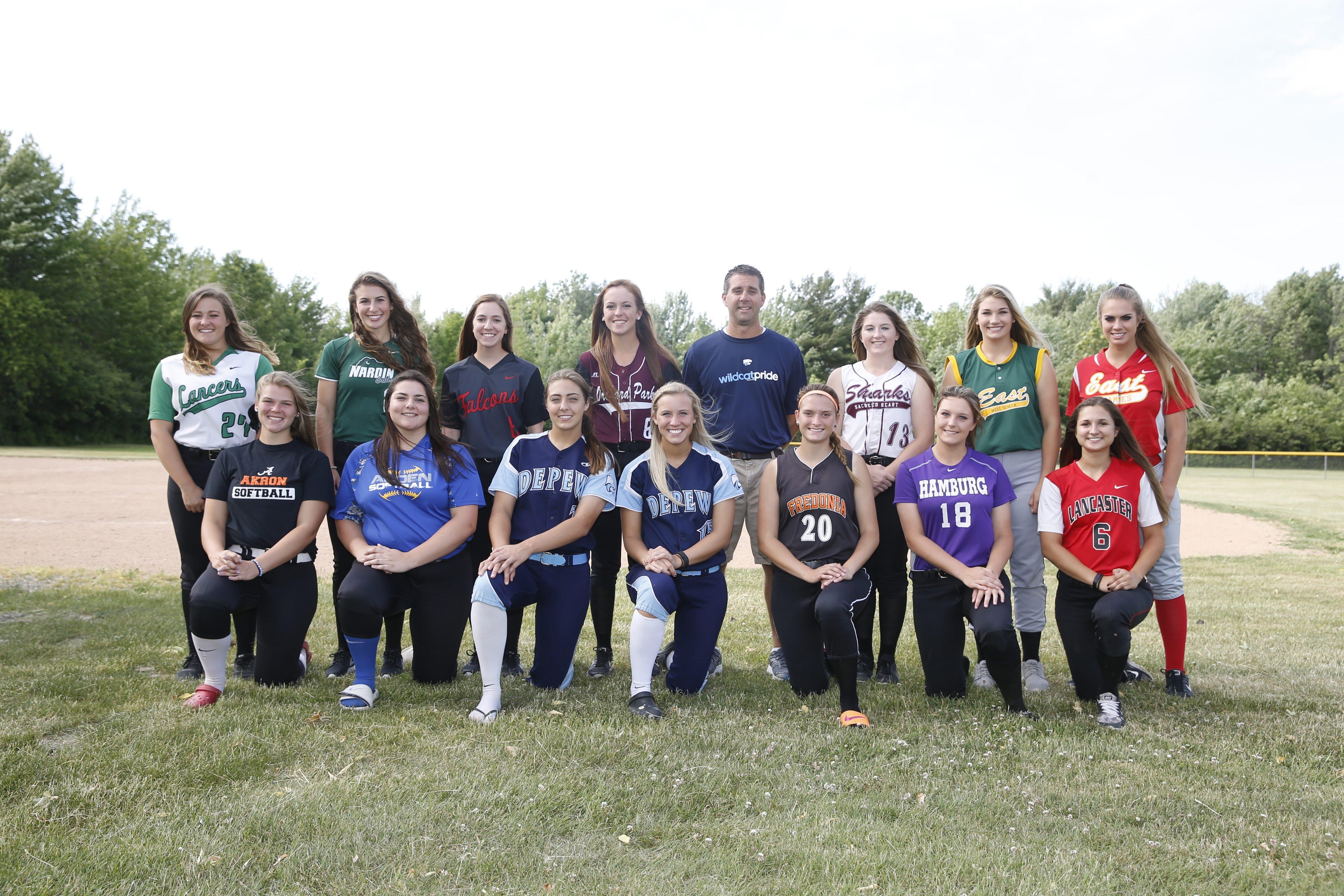 The All-Western New York Softball Team: Front row (L-R), Abby Stone, Akron; Laura Kratzke, Alden; Karsen Cotton, Depew; Abby Nicometi, Depew; Hannah Cybart, Fredonia; Heather Haberman, Hamburg; Kara Paradowski, Lancaster; Back row (L-R), Jenna Rhue, Lew-Port; Rachael Perelstein, Nardin; Madison Klidonas, Niagara Wheatfield; Madison Stewart, Orchard Park; Dan Seelig, Depew, Coach of the Year; Shannon Gilbert, Sacred Heart; Anilese Kelly, West Seneca East; Christy Mack, Williamsville East.