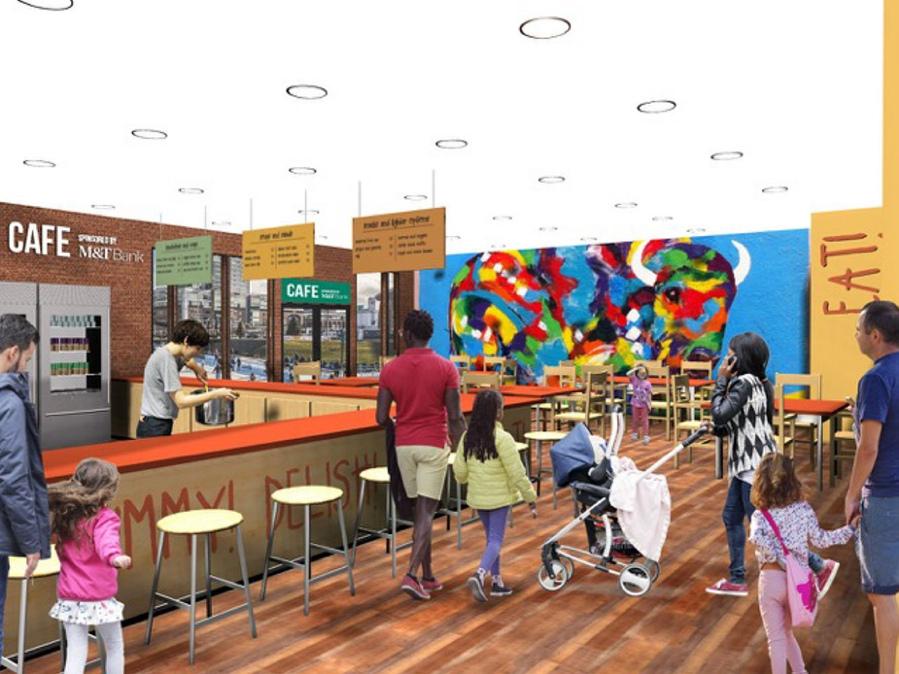 A rendering of the proposed cafe at the future Explore & More Museum at Canalside.