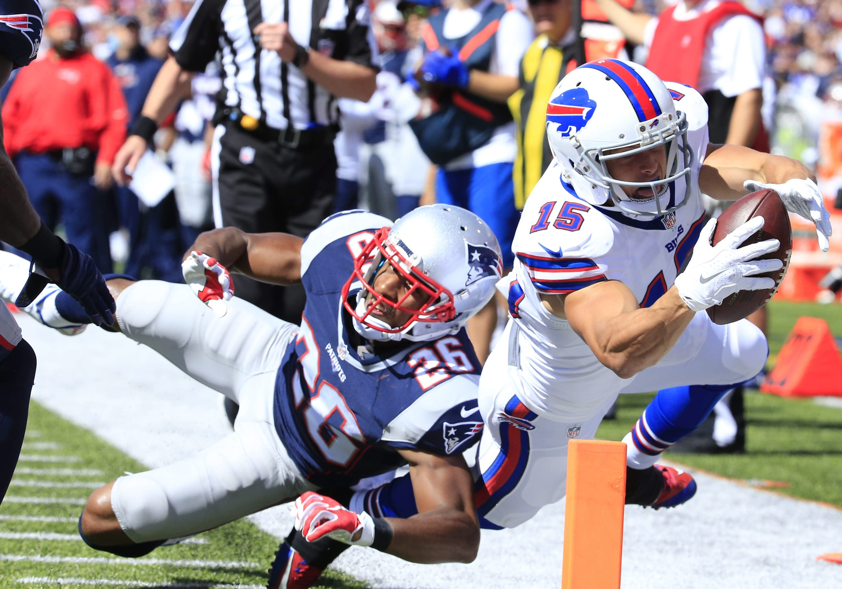 Former Bills receiver Chris Hogan, right, moved over to the Patriots in the offseason, giving New England's offense a new weapon out of the slot. (Harry Scull Jr./Buffalo News file photo)