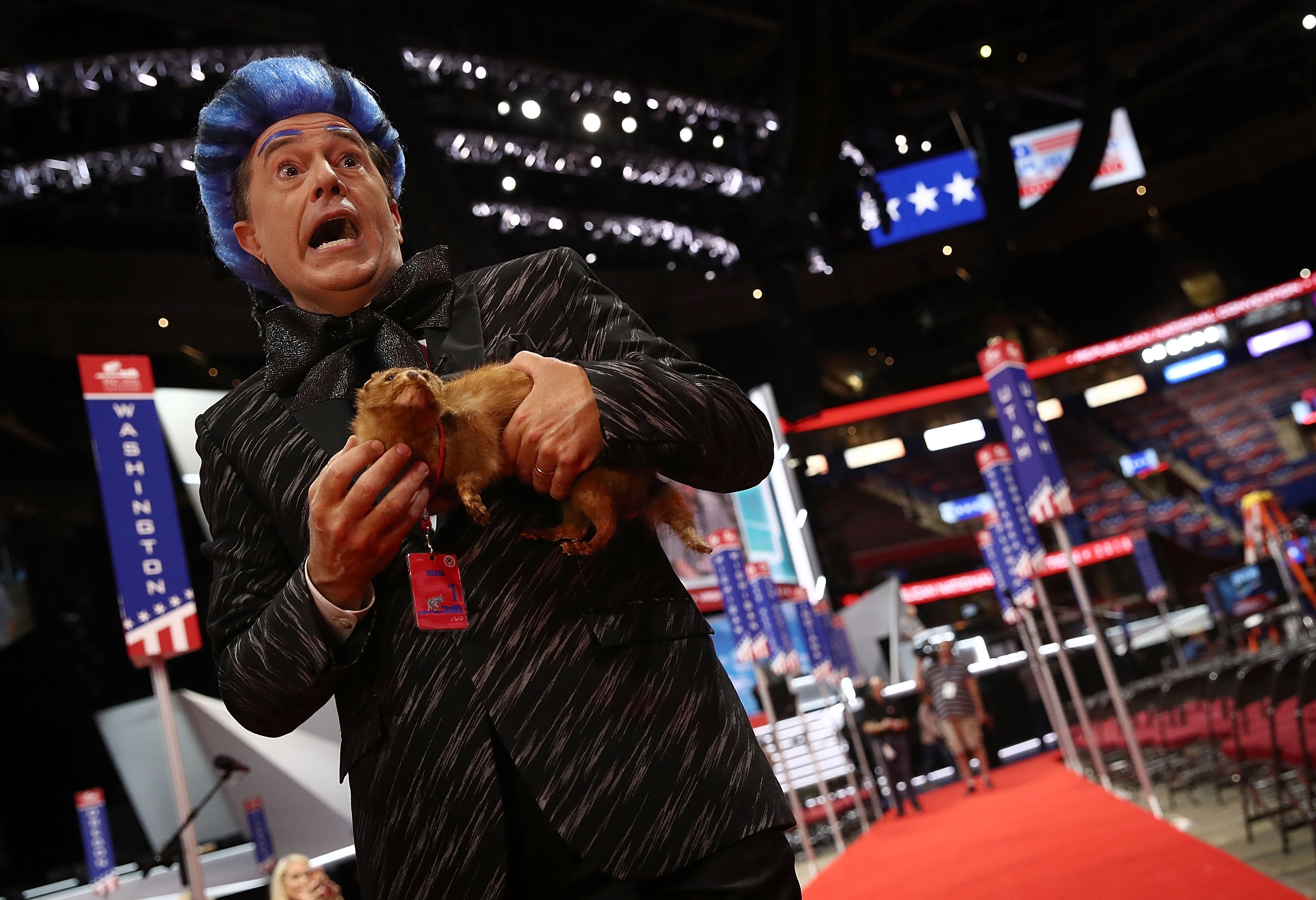 """Comedian Stephen Colbert tapes a segment on the floor of the Republican National Convention for CBS's """"The Late Show with Stephen Colbert"""" at the Quicken Loans Arena in Cleveland, Ohio. (Getty Images)"""