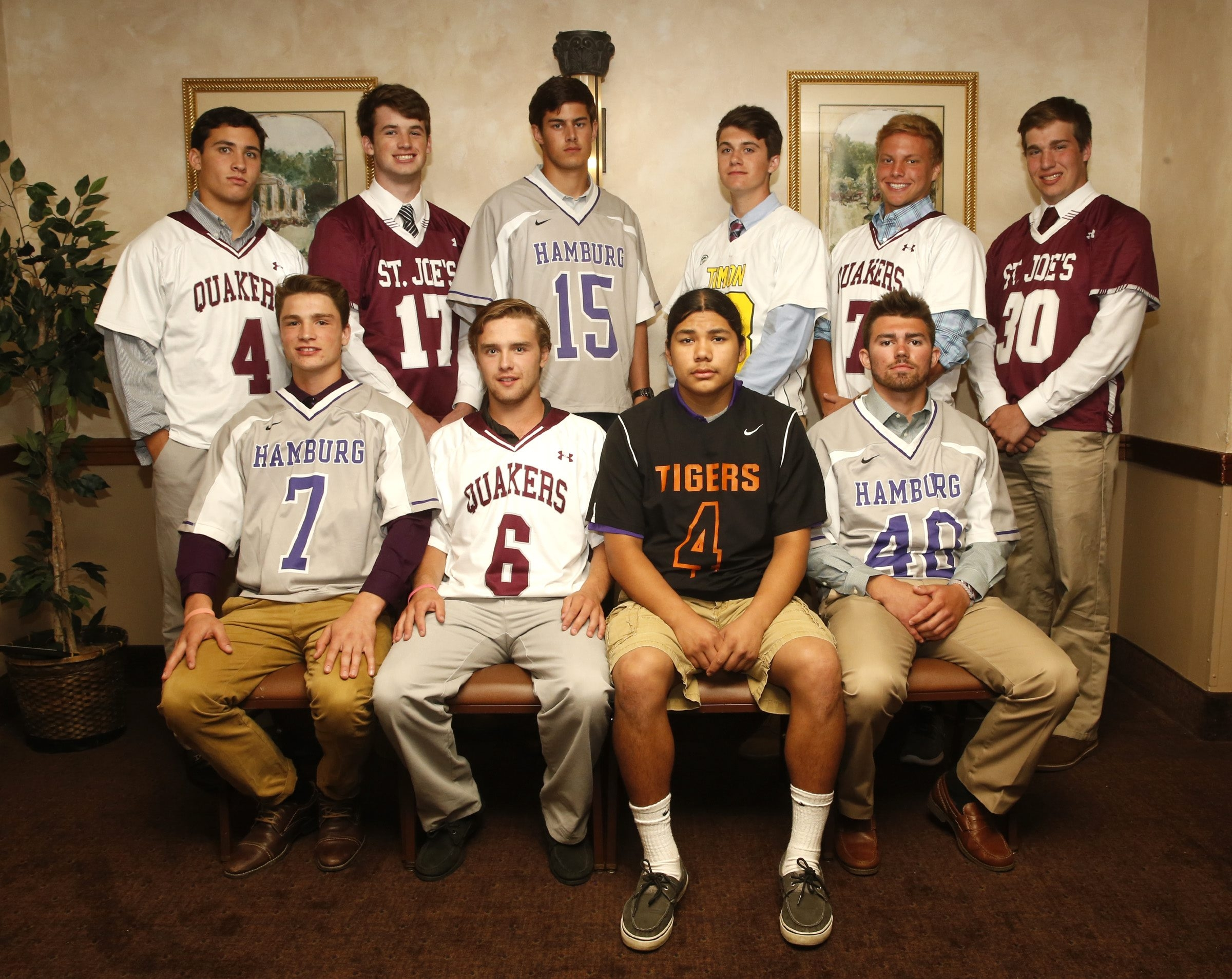 Members of the All-Western New York boys lacrosse team. In front row, from left: Jason Chiodo, Hamburg; Kevin McParlane, Orchard Park; Owen Hill, Akron; Evan Hollfelder, Hamburg. Back row, from left: Ron Shul, Orchard Park; Jack Lalley, St. Joe's; Will Agate, Hamburg; Tyler Manning, Bishop Timon-St. Jude; Josh Dahl, Orchard Park, and Eric Deakin, St. Joe's.