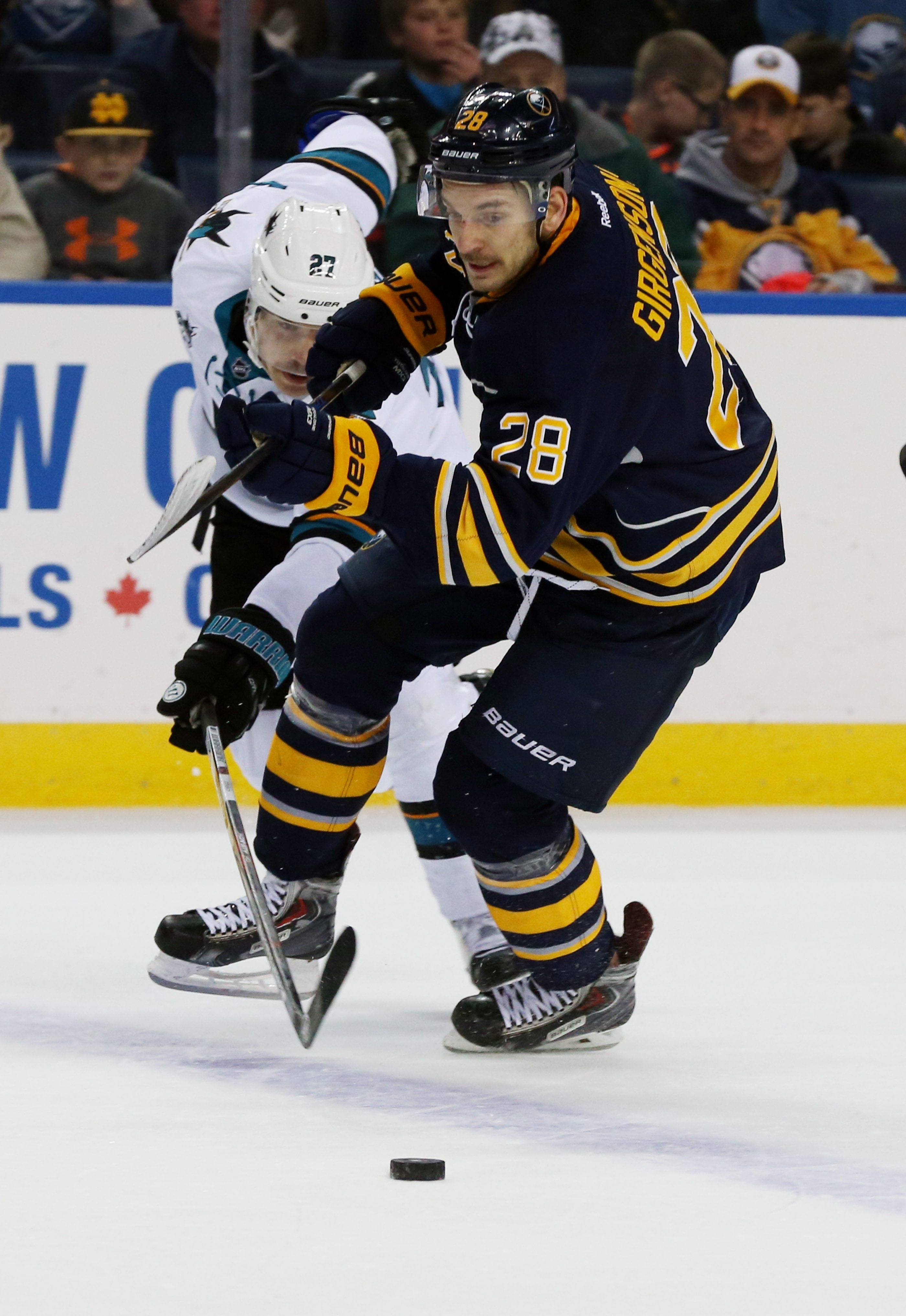 Zemgus Girgensons did not score any of his seven goals for the Sabres on home ice last season.
