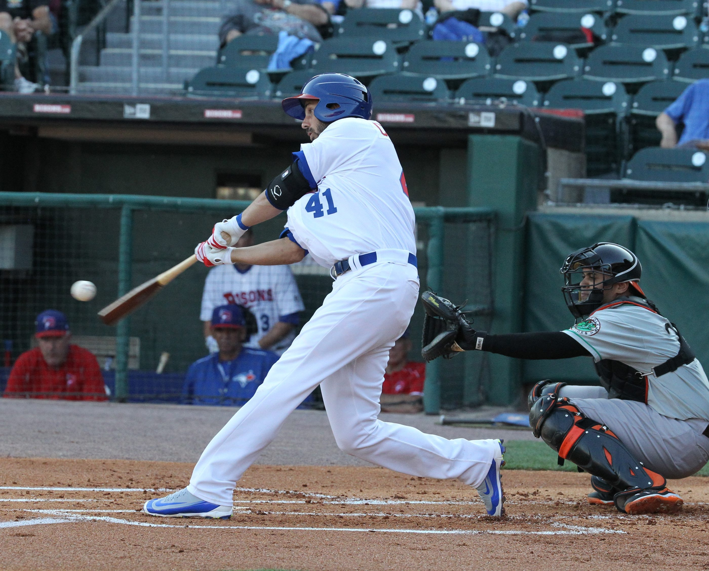 Chris Colabello, who started at first base for the Bisons on Monday, blasts a first-inning solo home run to left-center field.