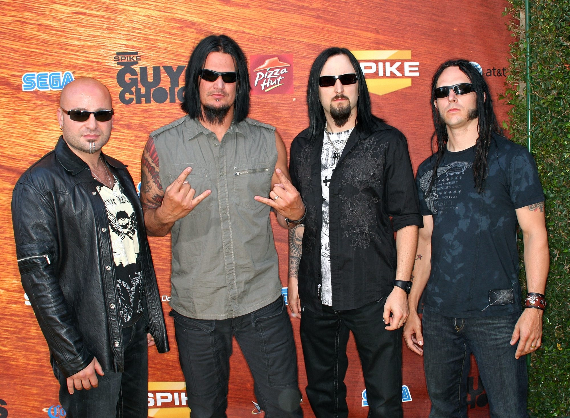 """CULVER CITY, CA - MAY 30:  Members of the band Disturbed arrive at the taping for Spike TV's 2nd Annual """"Guys Choice"""" Awards held at Sony Studios on May 30, 2008 in Culver City, California.  The show airs on June 22, 2008 at 10PM ET/PT on Spike TV.  (Photo by Frederick M. Brown/Getty Images)"""