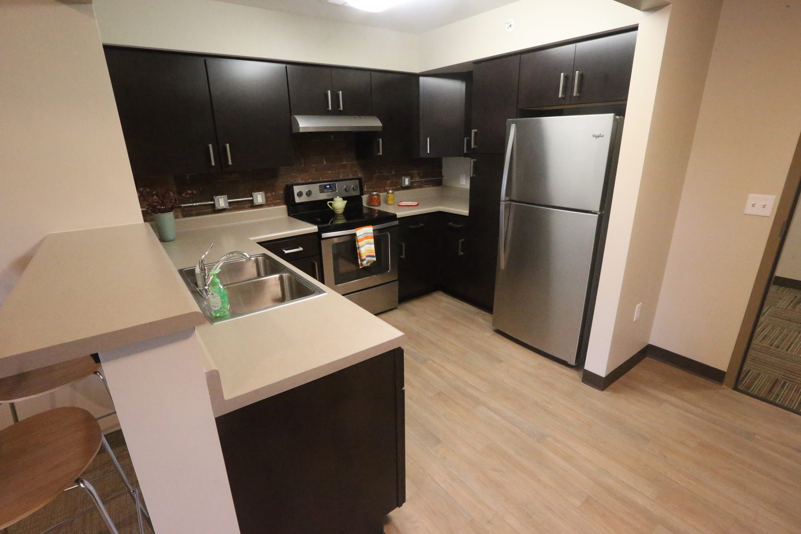 A kitchen at Evergreen Lofts, 392 Genesee St., the new low-income housing complex in downtown Buffalo. The former warehouse is now open for tenants, less than a year after the groundbreaking.