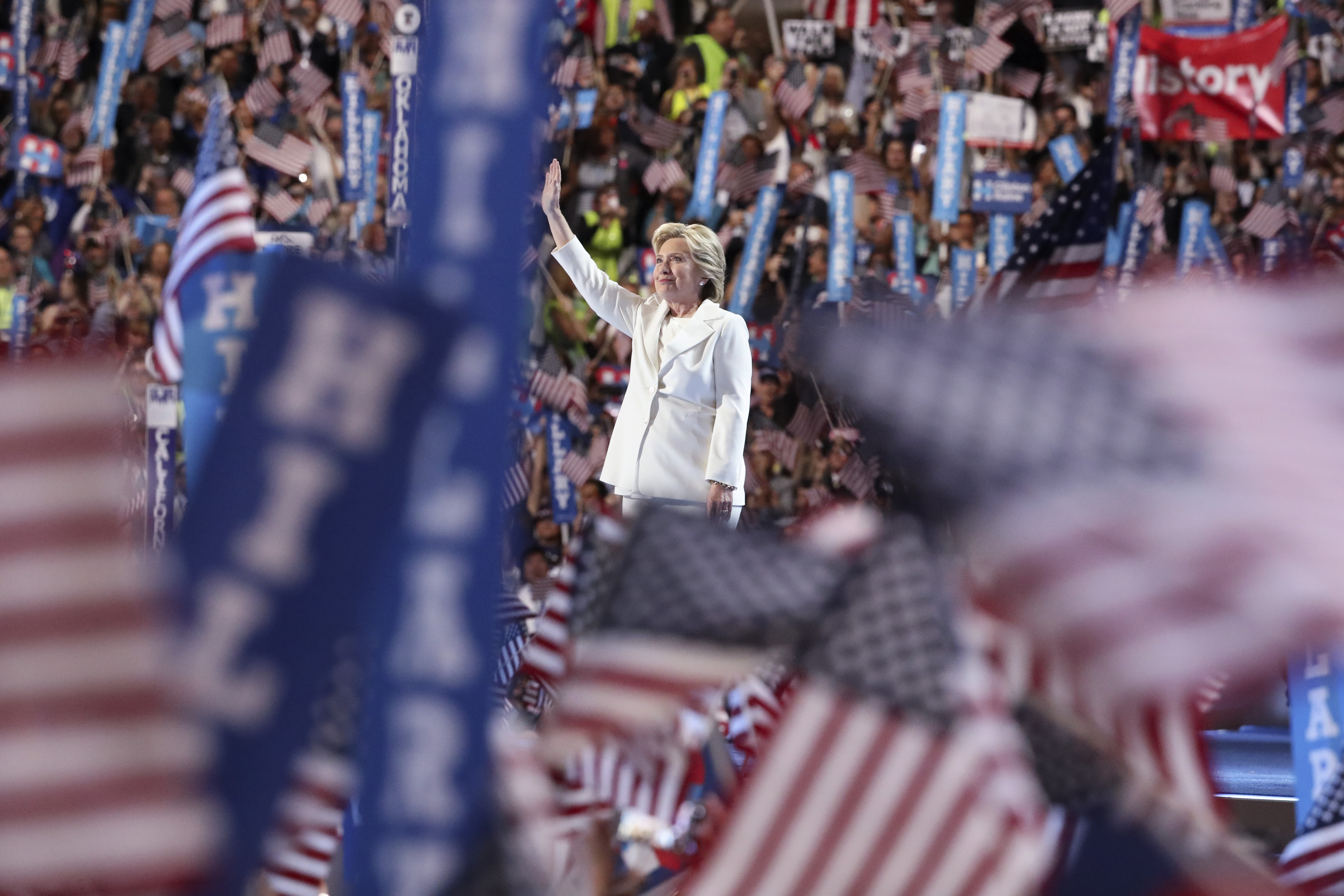 Hillary Clinton takes the stage to accept the party's presidential nomination, at the Democratic National Convention in Philadelphia, July 28, 2016. (Sam Hodgson/The New York Times)
