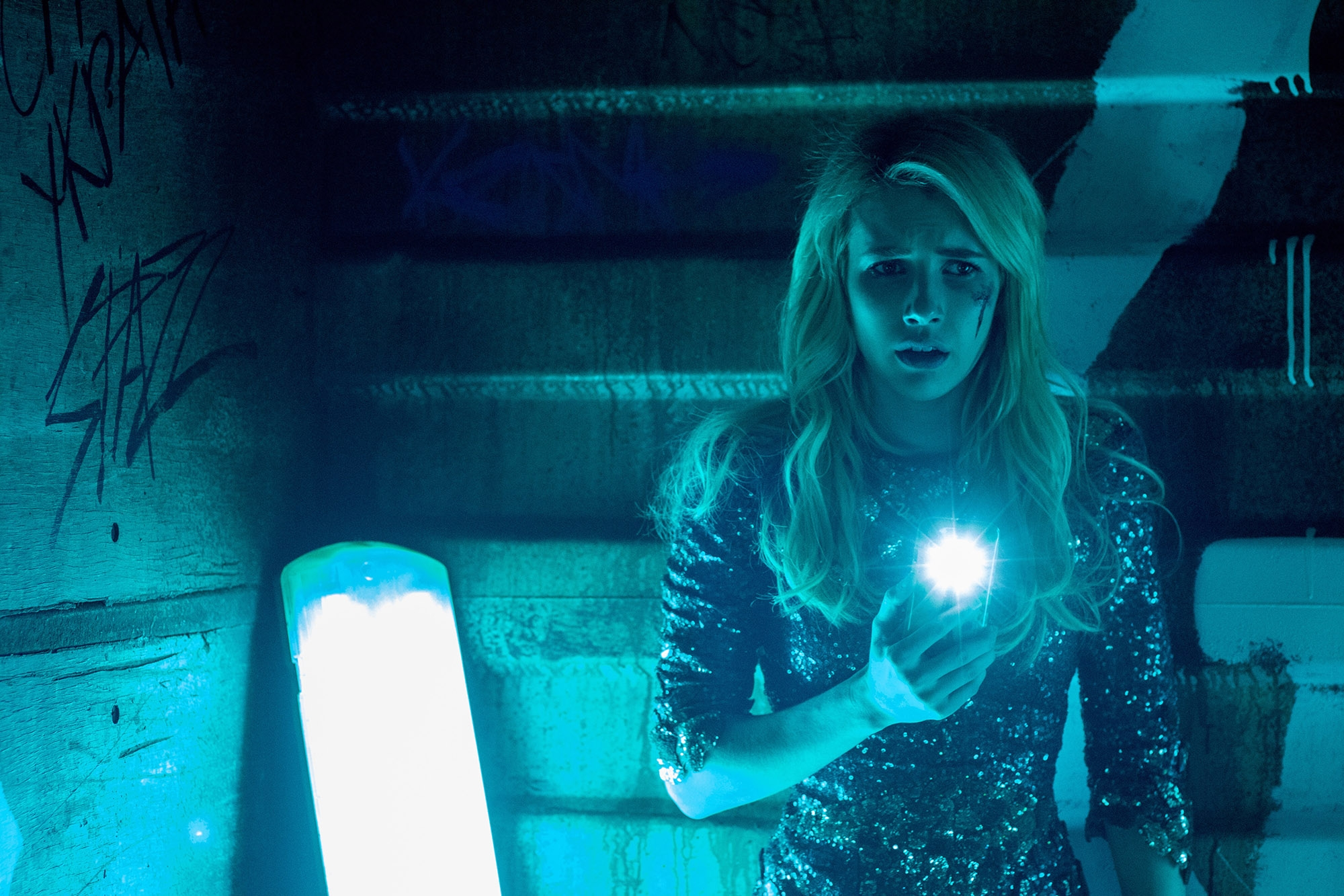 "After her crush publicly spurns her, Vee (Emma Roberts) signs onto a risky gaming app in ""Nerve."" MUST CREDIT: Niko Tavernise, Lionsgate."