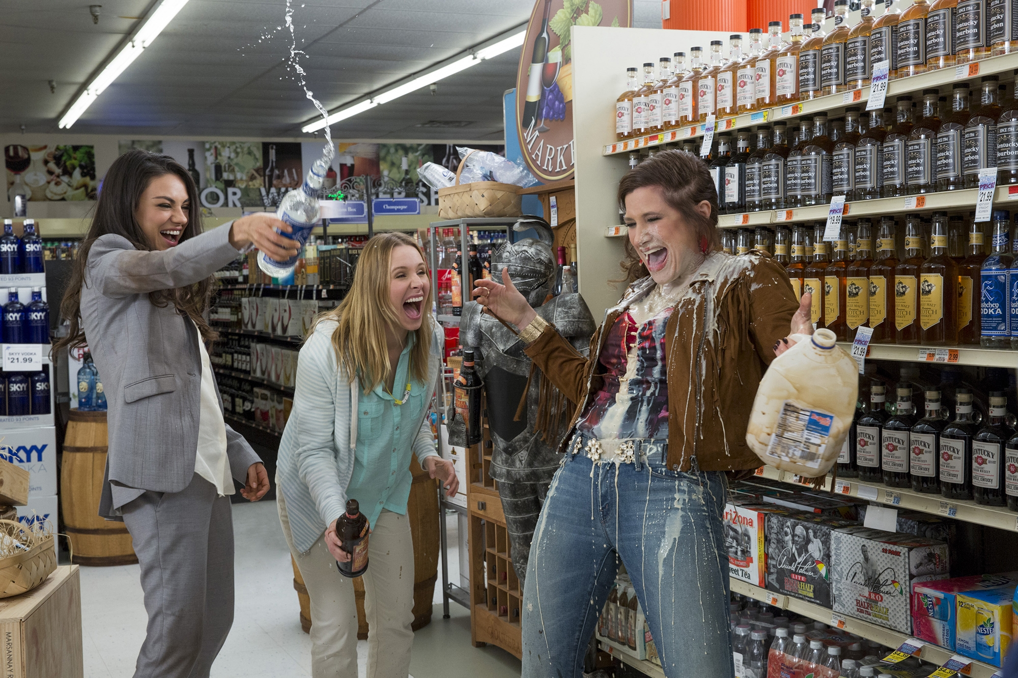 "Exhausted by helicopter parents and other stresses, Mila Kunis, left, Kristin Bell andKathryn Hahn let loose in ""Bad Moms"" and take aim at the mean girls of the PTA. MUST CREDIT: Michele K. Short, STX Productions."
