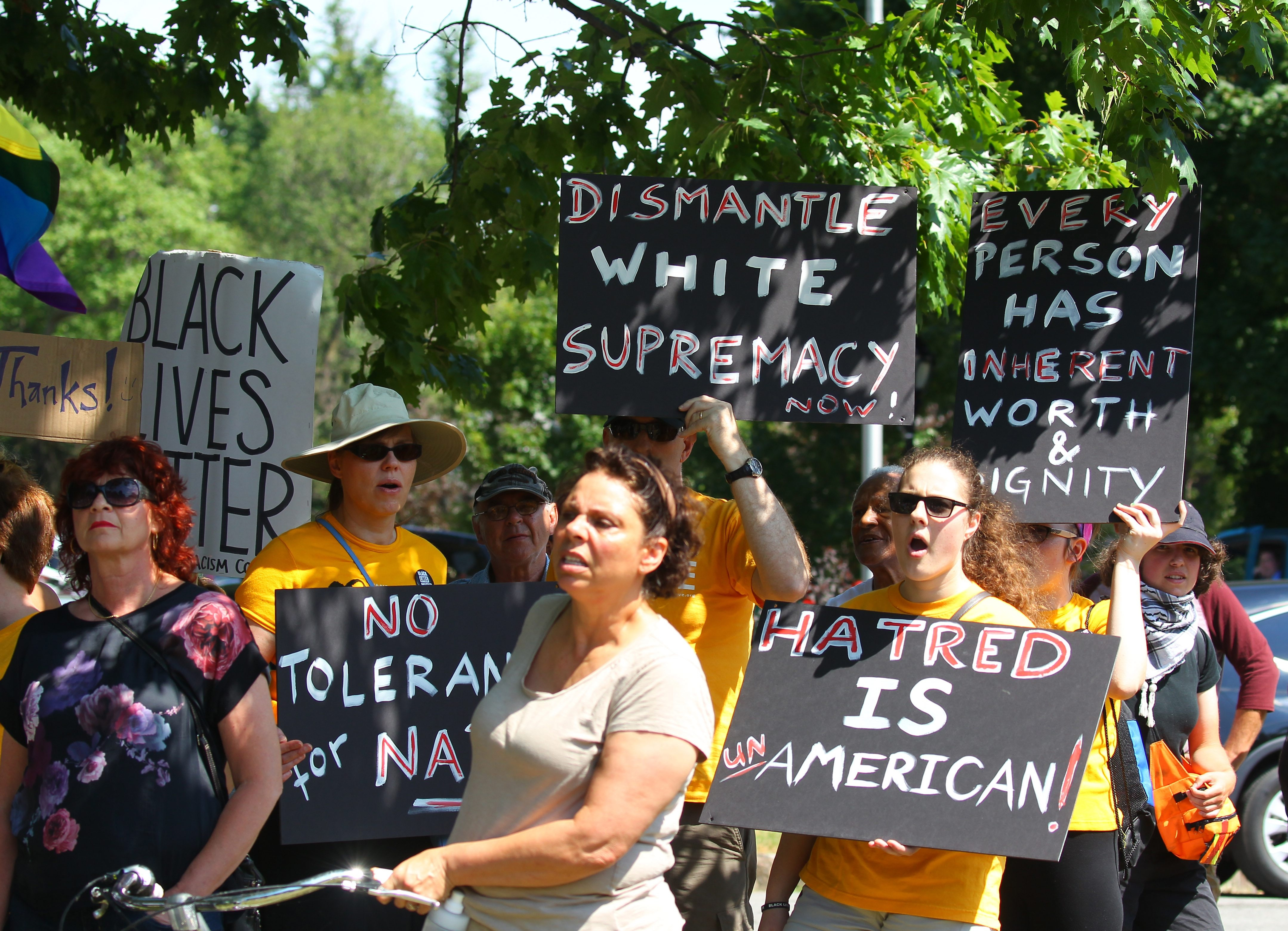 """People against the """"White Lives Matter"""" rally hold up signs in protest at Cazenovia Park on Saturday, July 29, 2016. (Mark Mulville/Buffalo News)"""