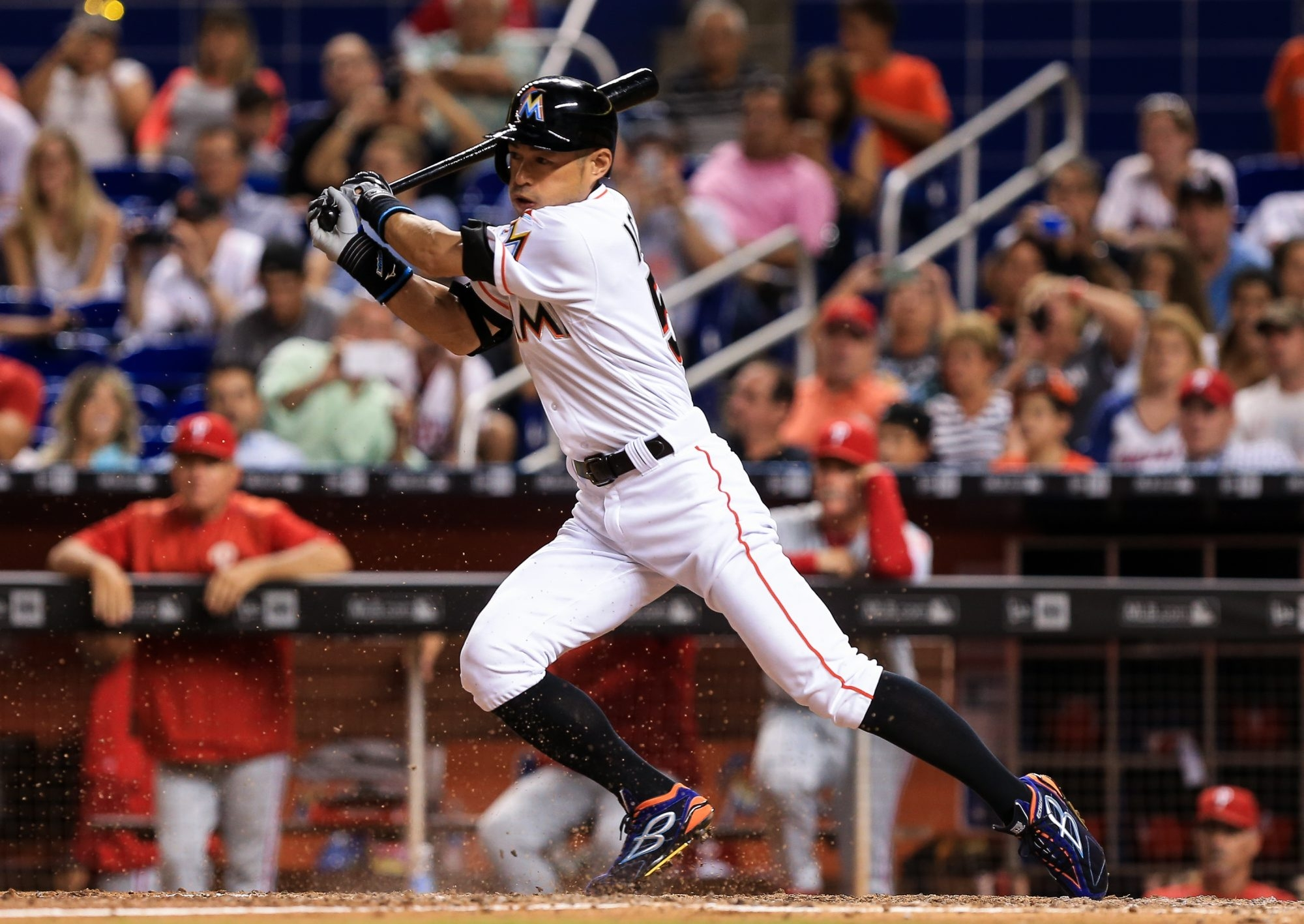 Ichiro Suzuki (51) of the Miami Marlins during an at-bat during the eighth inning of the game against the Philadelphia Phillies at Marlins Park on Monday in Miami, Fla.