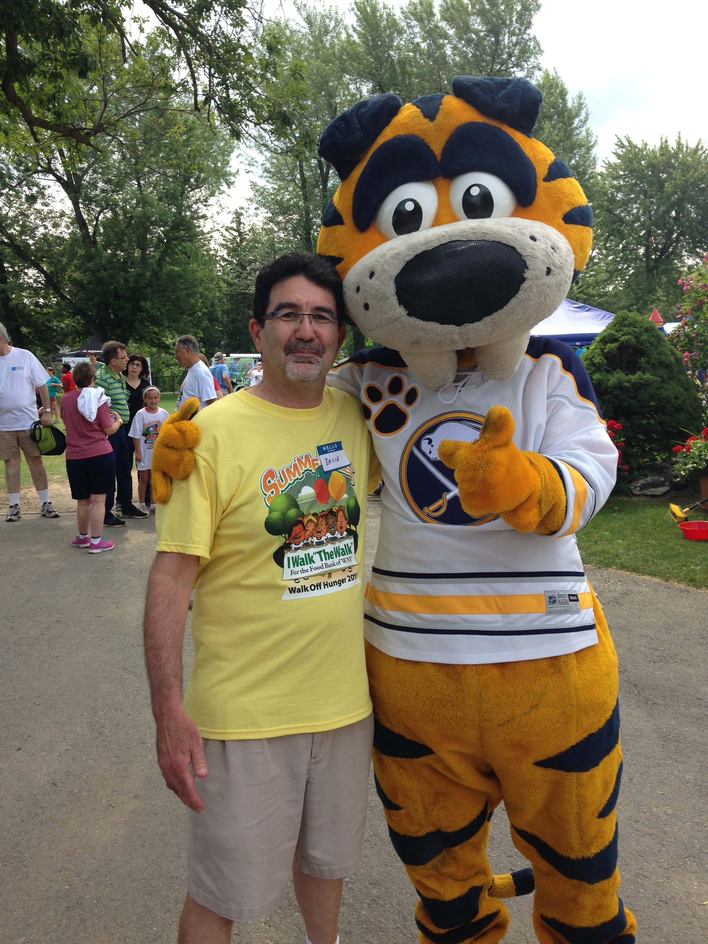 Bruce Corris, seen with Sabretooth, is a key organizer for Walk Off Hunger.