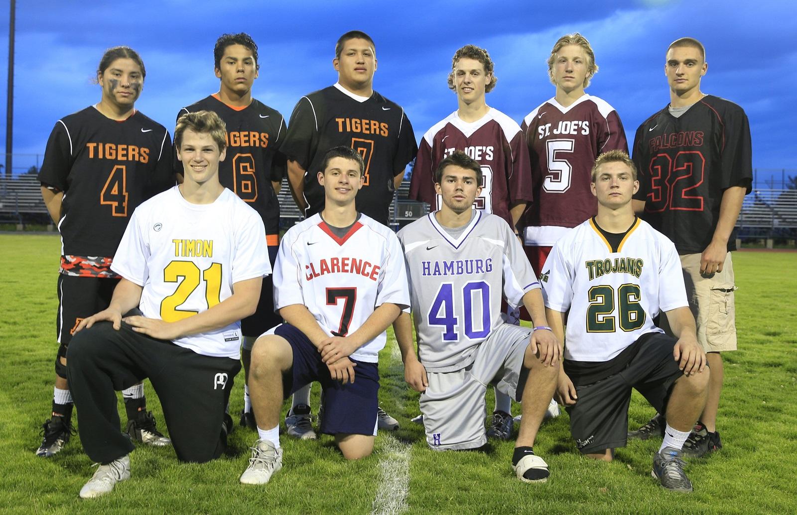 All-WNY Boys lacrosse for 2015. Front row, left to right: Tristan Dougherty (Timon), Josh Slowinski (Clarence), Evan Hollfelder (Hamburg), Tyler Skretny (West Seneca East) Back row, left to right: Chaunce Hill (Akron), Larson Sundown (Akron), Gates Abrams (Akron),Myles Young (St.Joe's), Peter Masters (St. Joe's), James Stenzel  (Niagara-Wheatfield). (Harry Scull Jr./Buffalo News)