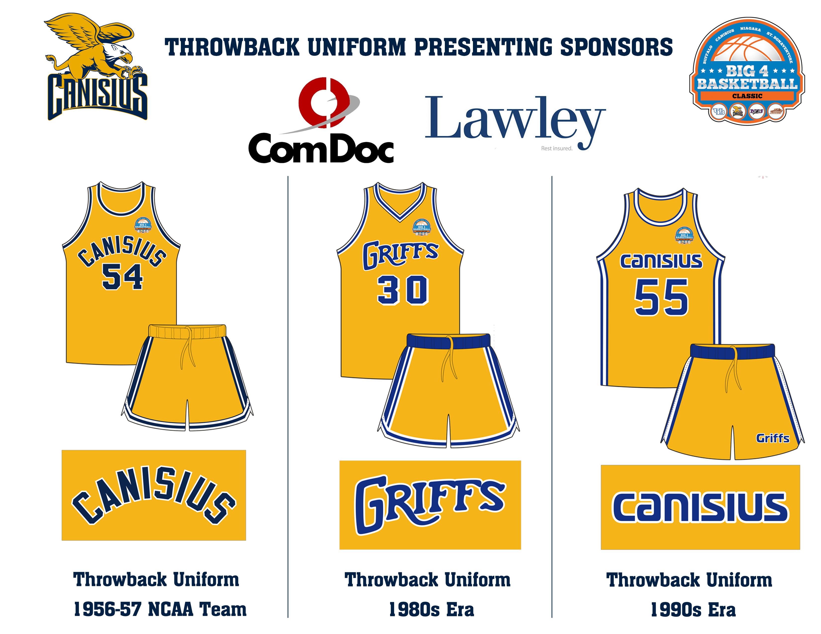 The Canisius throwback uniform options.