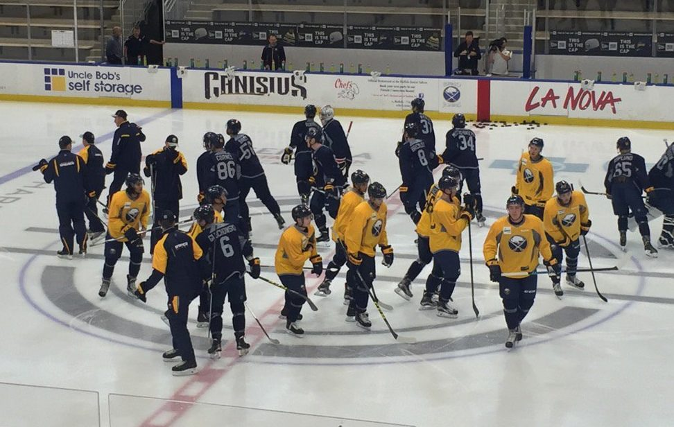 Sabres prospects gather for the beginning of the first workout of development camp. (Amy Moritz/Buffalo News)