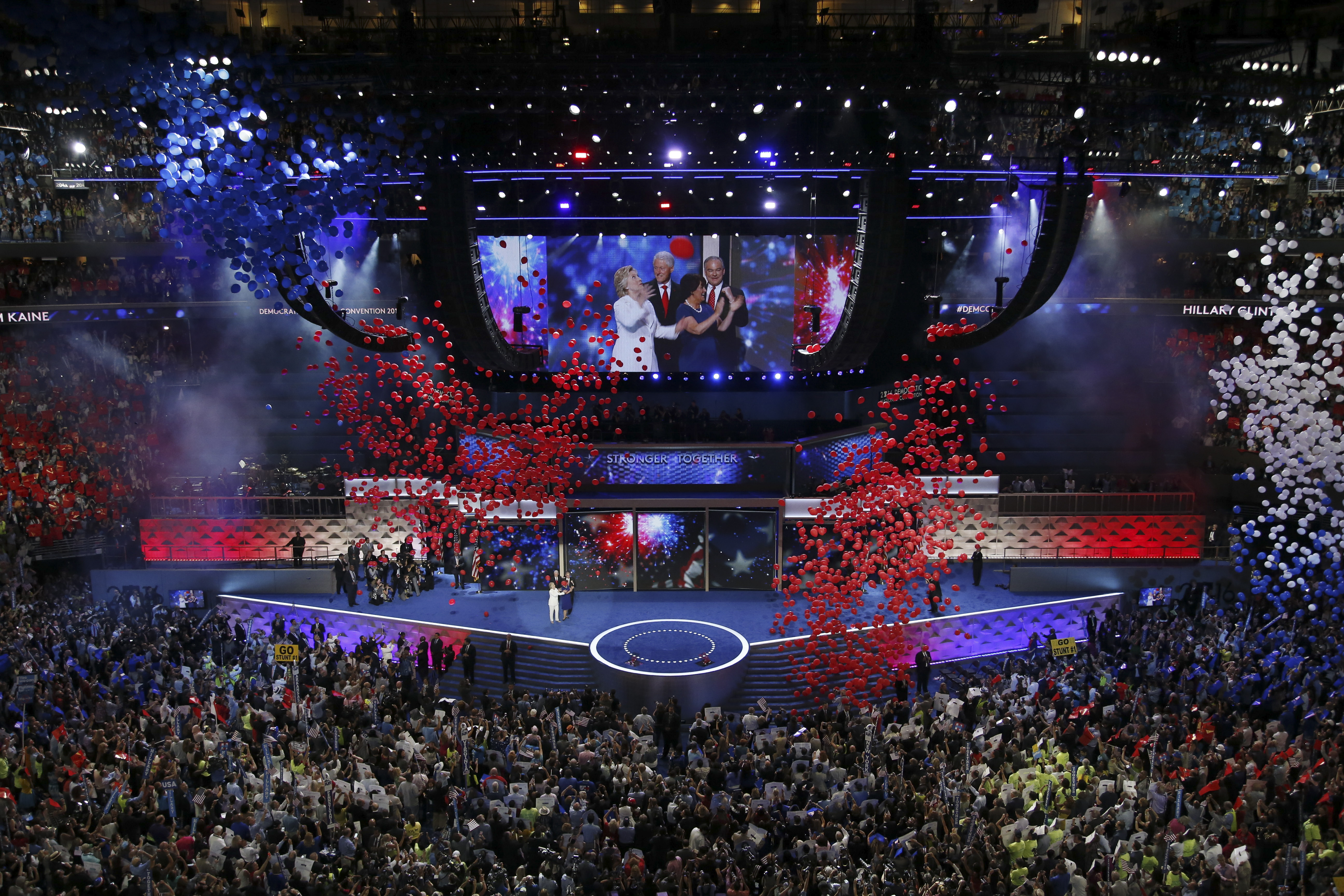 Balloons come down in the Wells Fargo Center after Hillary Clinton accepted the party's presidential nomination on July 28. (Josh Haner/New York Times)