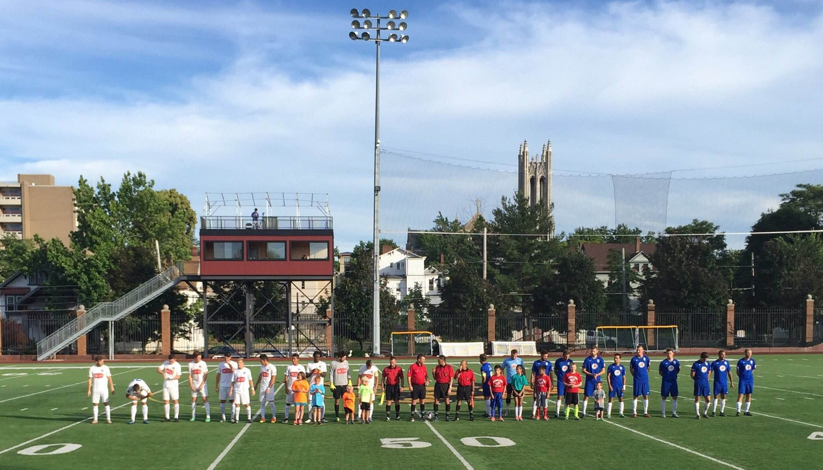 The starting lineups for FC Buffalo and Erie face the fans before the match. (Ben Tsujimoto/Buffalo News)