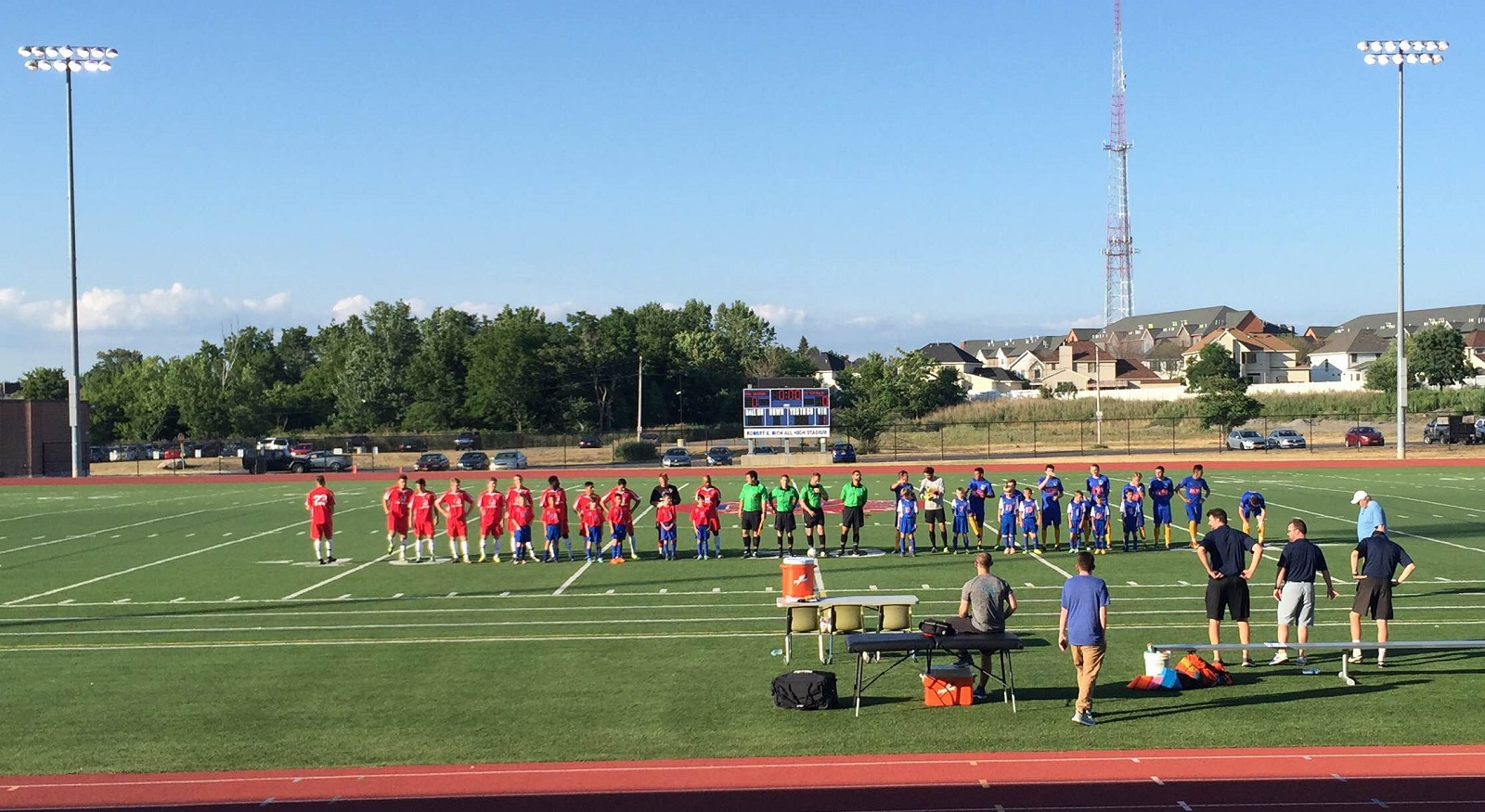 Indy Eleven NPSL, in red, and FC Buffalo line up before kickoff. (Ben Tsujimoto/Buffalo News)