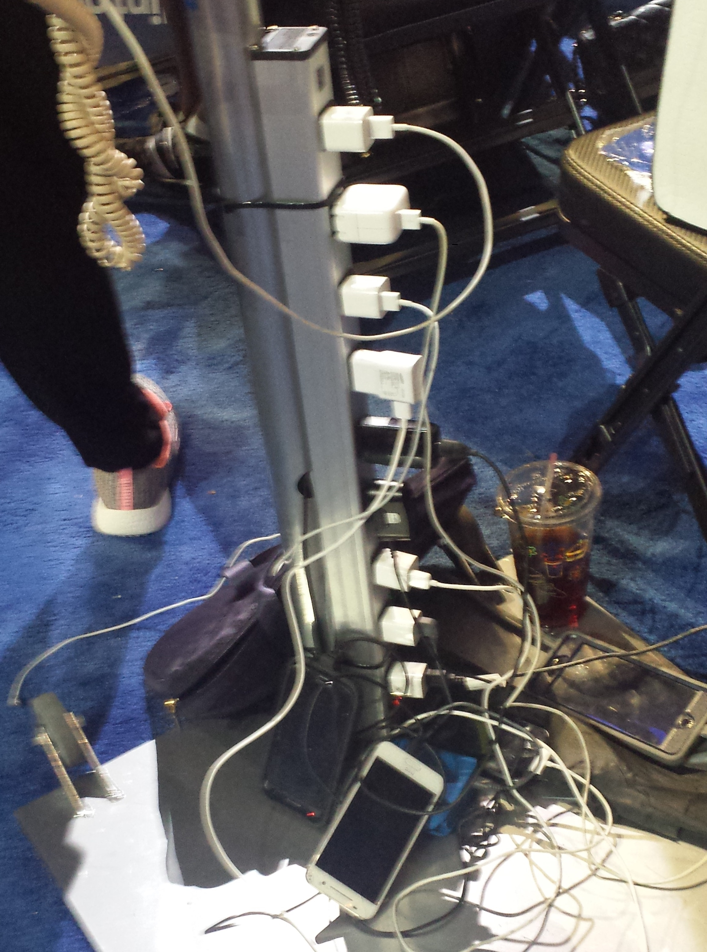 The overtaxed power strip for New York State delegates has people hunting elsewhere for power. (Photo by Mark Poloncarz)