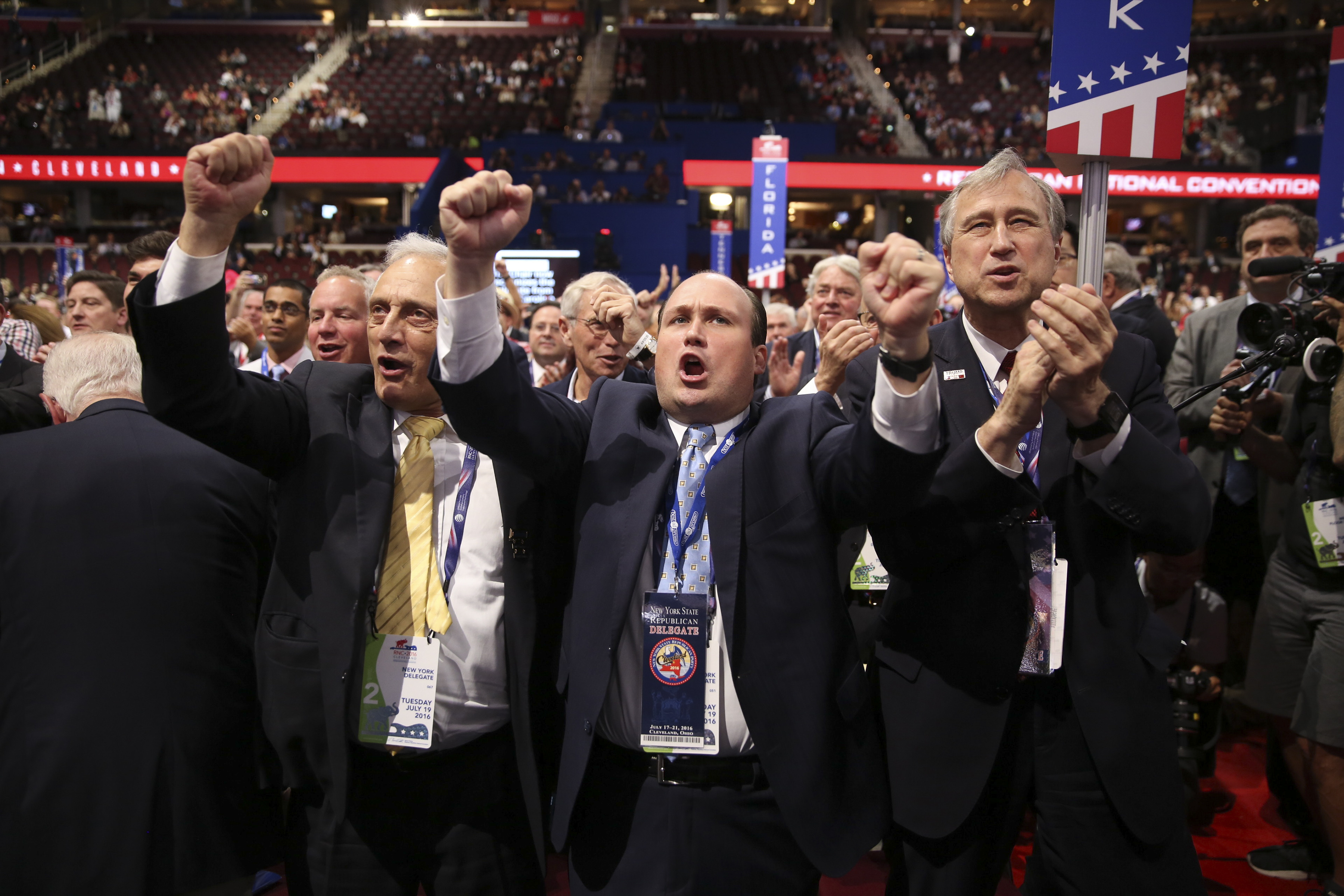 Carl Paladino, left, Erie County Republican Chairman Nicholas Langworthy and State Republican Chairman Ed Cox during the roll call vote during day two of the Republican National Convention. (Damon Winter/The New York Times)