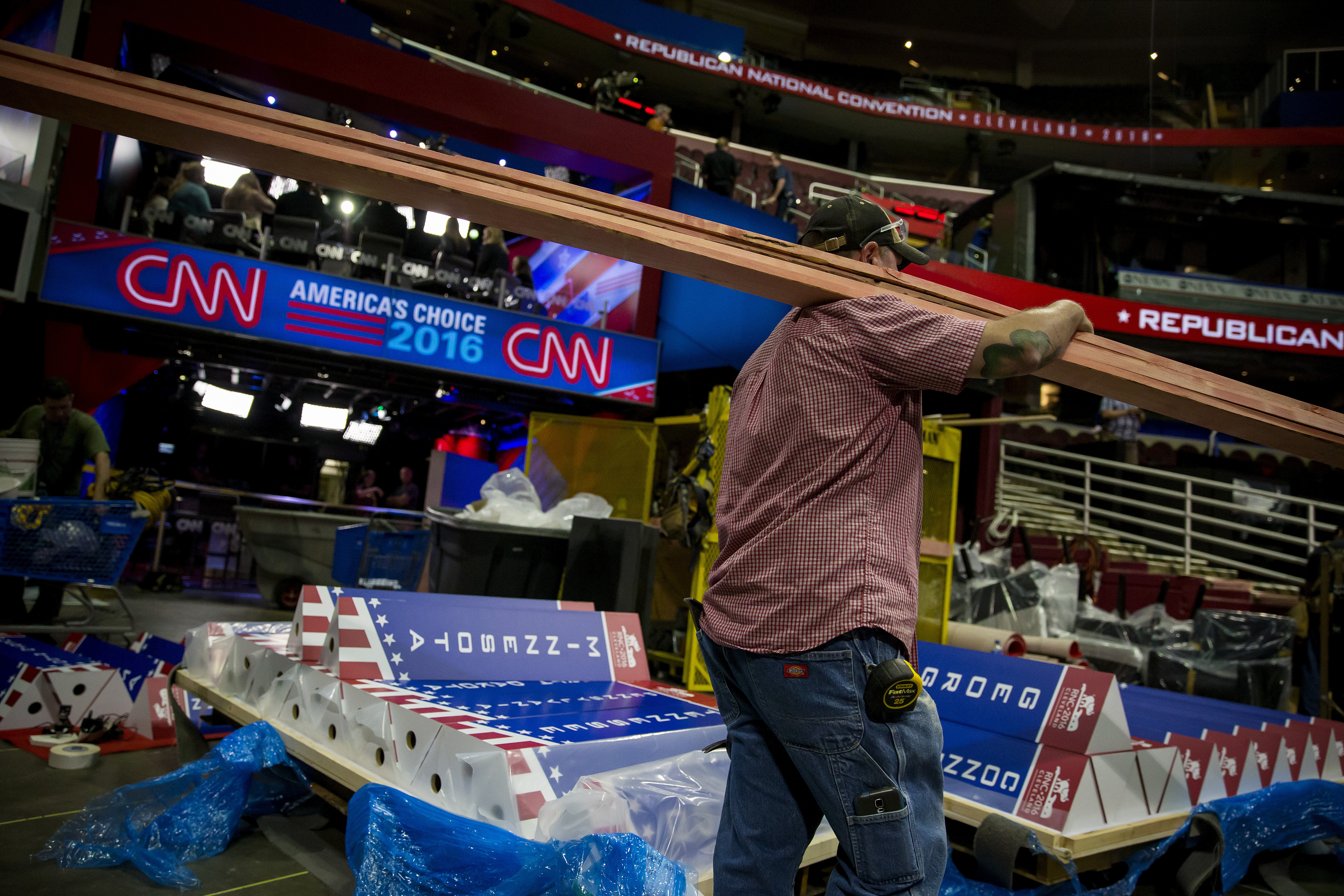 Preparations are made for the Republican National Convention at the Quicken Loans Arena in Cleveland, Ohio. (Eric Thayer/New York Times)