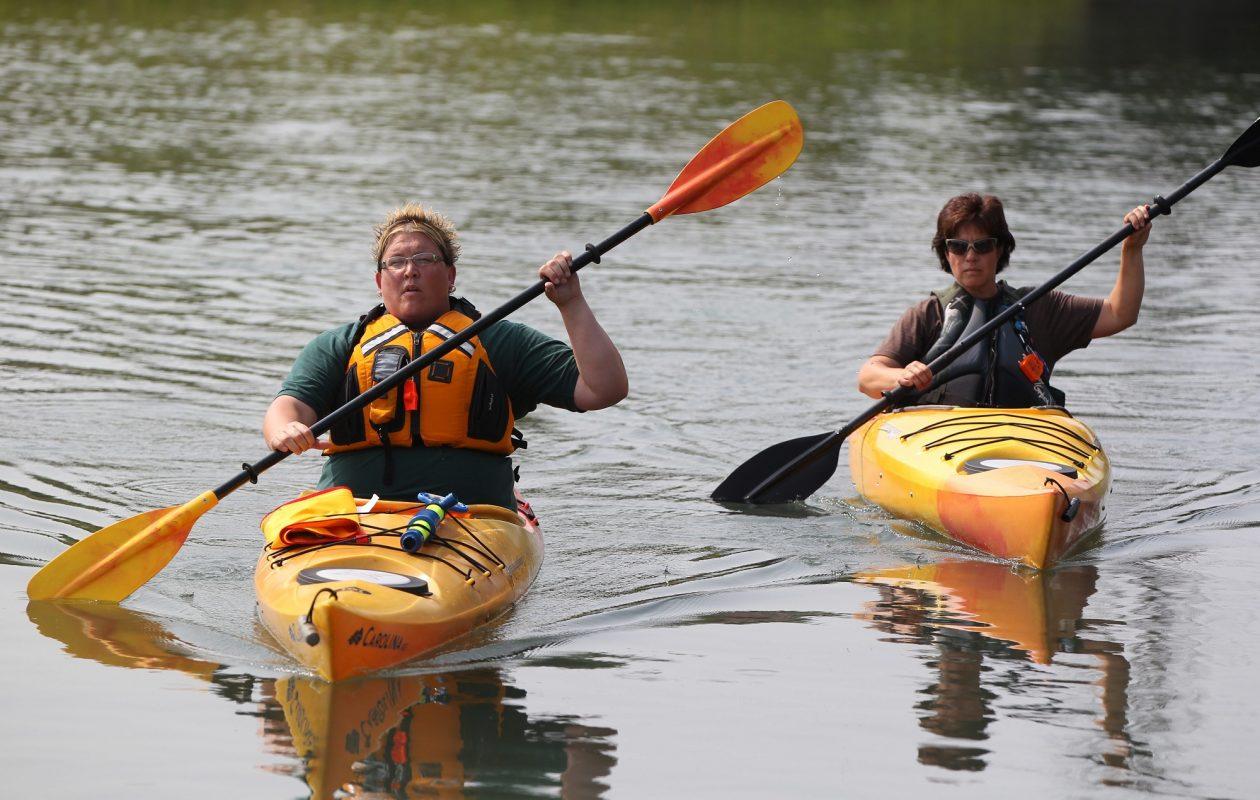 Tina Spencer, left, and Amy Garten kayak at Beaver Island State Park on Grand Island. (Mark Mulville/Buffalo News)