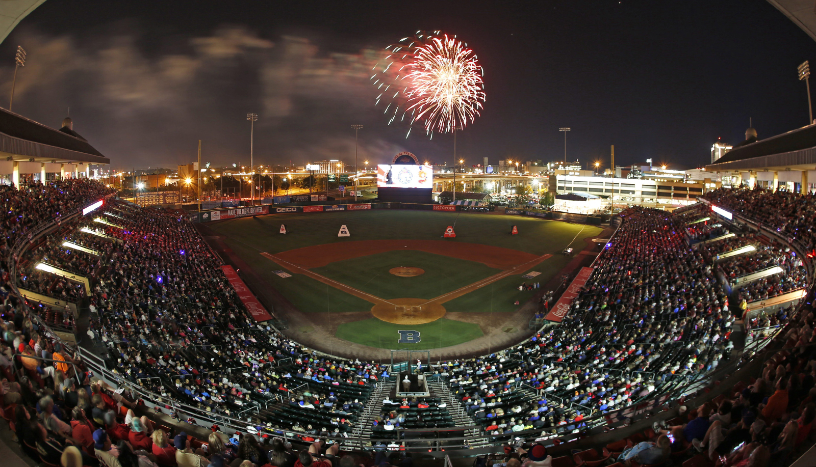 Fireworks light the sky after the 2016 Bisons' Independence Eve celebration in Coca-Cola Field (Harry Scull Jr./Buffalo News file photo).