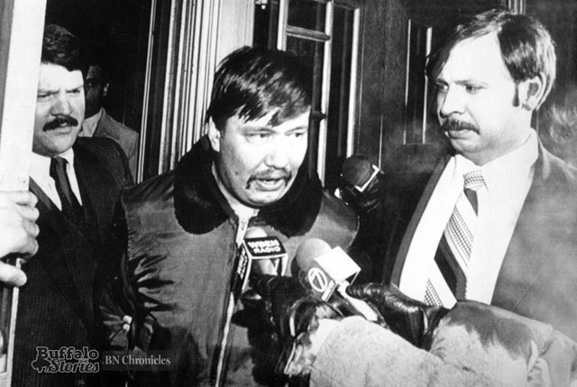 Karl Hand, Jr. was arrested by federal agents after a 1981 rally on an unrelated weapons charge. (Buffalo News archives)