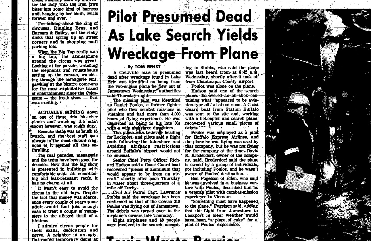 A story in The Buffalo News from January 1987 about a pilot missing in Lake Erie. (Buffalo News Archives)