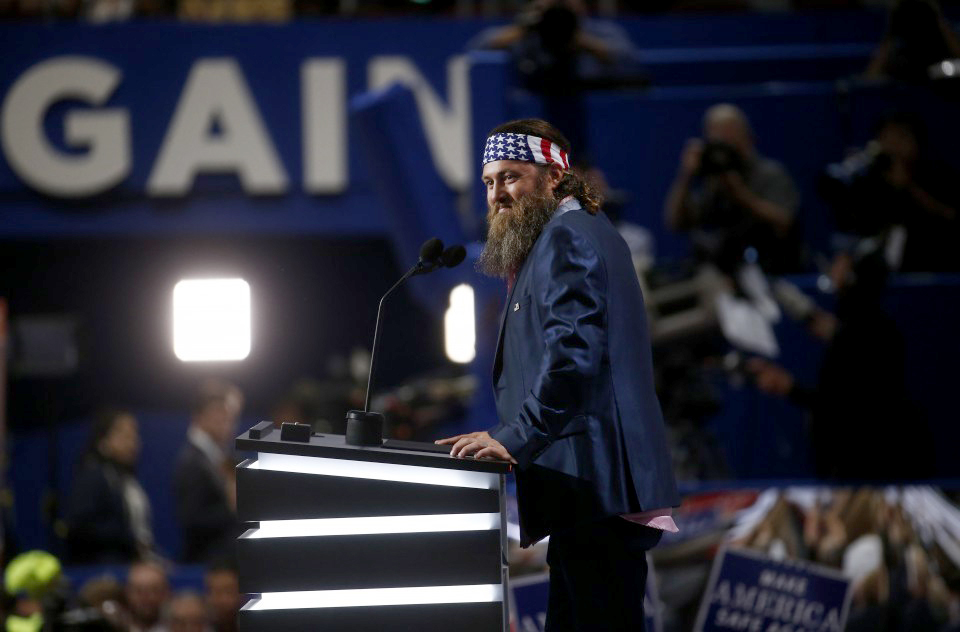 Willie Robertson speaks during the Republican National Convention in Cleveland on Monday. (Andrew Harrer, Bloomberg)