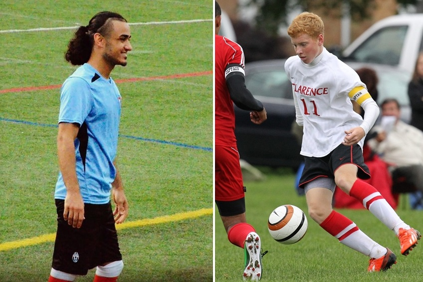 Sami Kassem, left, of Yemen Elite and Sammy Wasson, right, of Celtic United go head to head in BN Soccer's game of the week.