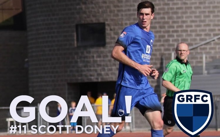 UB forward Scott Doney potted four regular season goals for Grand Rapids FC. (graphic via Grand Rapids FC)