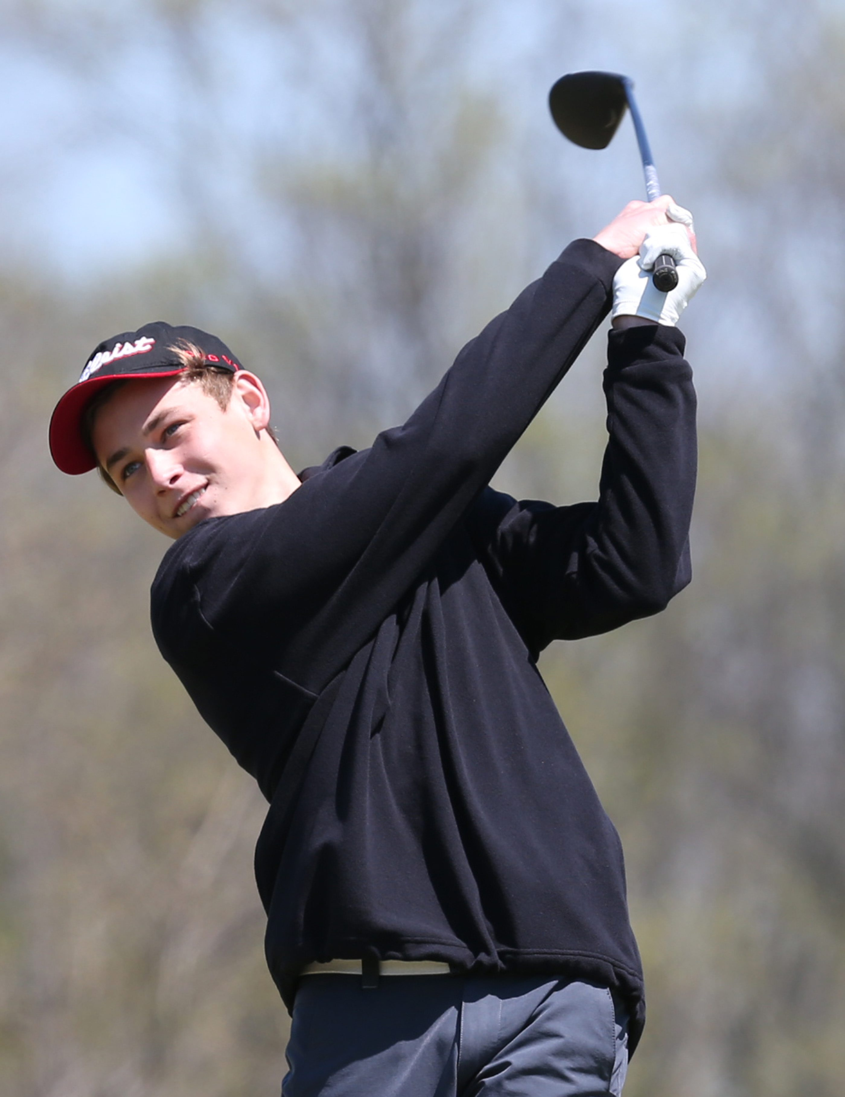 Matt Pawlak of Niagara-Wheatfield tees off during the 2015 Section VI golf championships. (James P. McCoy/ Buffalo News)