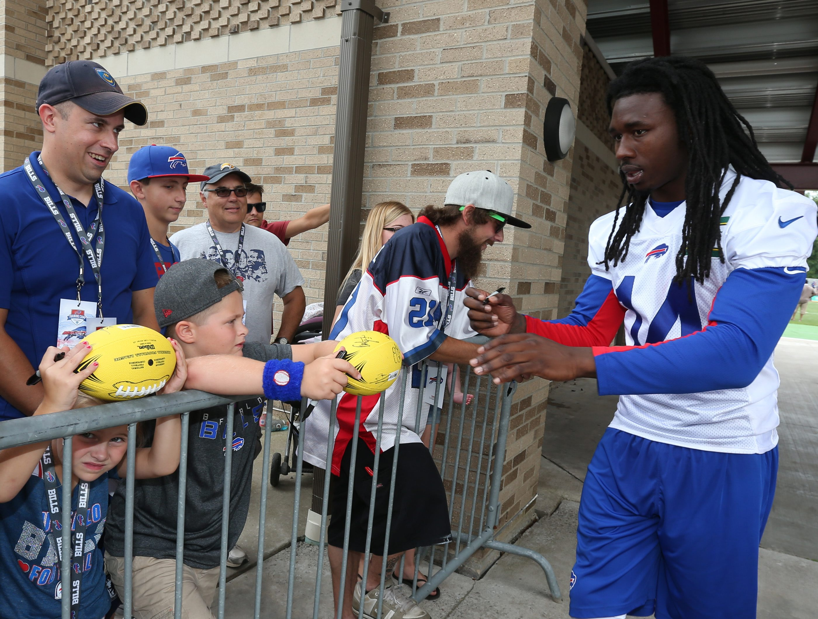 Buffalo Bills wide receiver Sammy Watkins (14) signs autographs after the first day of the 2016 training camp at St. John Fisher College in Pittsford,NY on Saturday, July 30, 2016. (James P. McCoy/ Buffalo News)