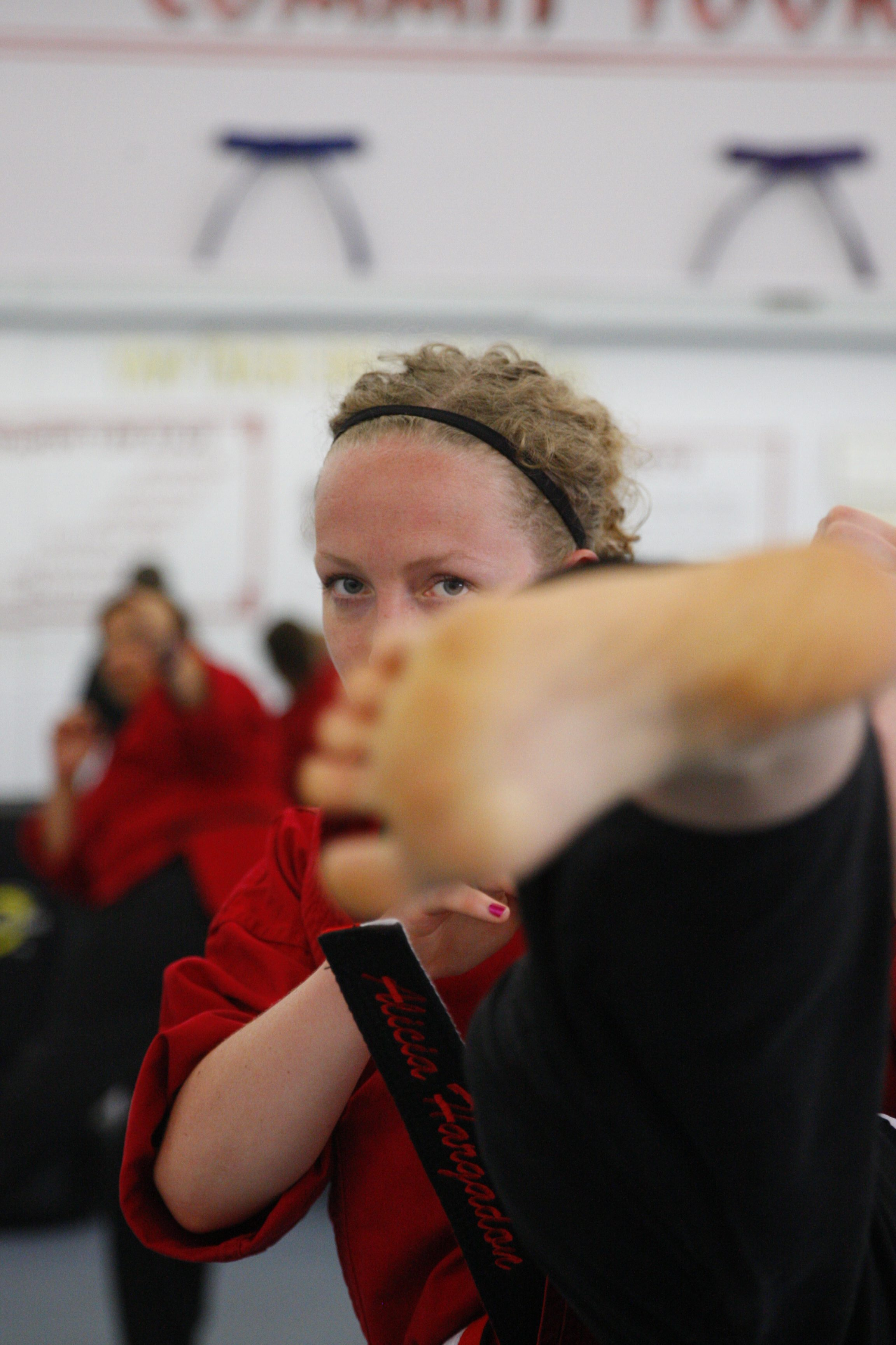Alicia Hargadon, a nurse at Roswell Park, earned a fifth-degree black belt trines at the New York Karate Center on Tuesday, Aug. 2, 2016. (Harry Scull Jr./Buffalo News)