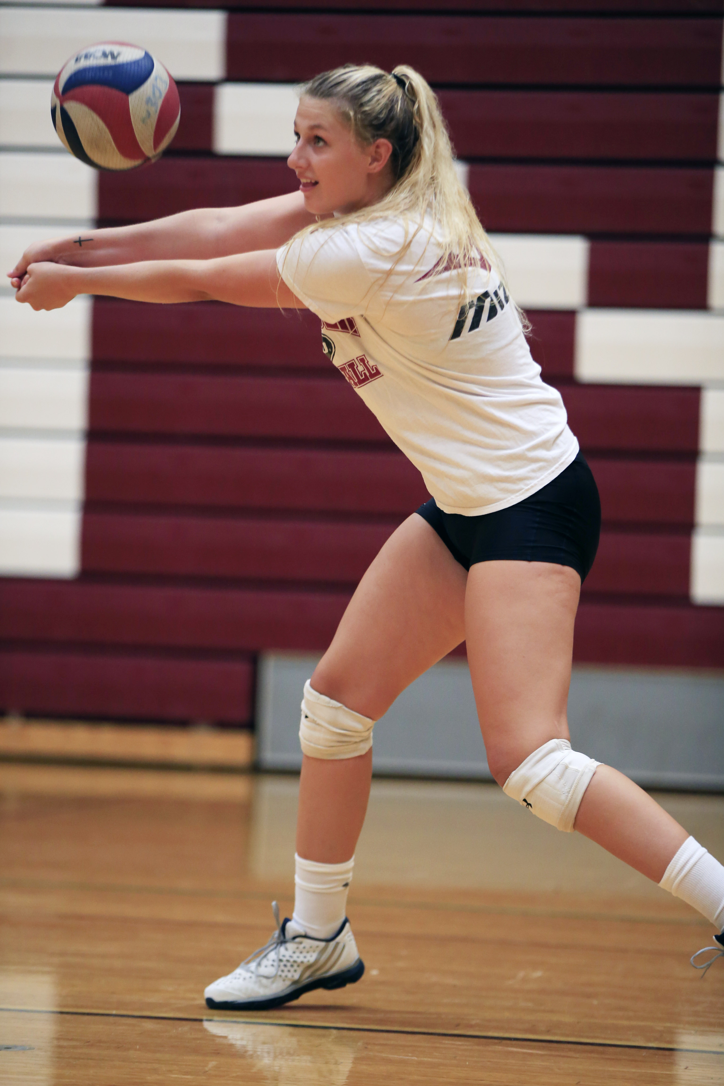 Eden volleybal player Samantha Burgio during practice at High School on Thursday, Aug. 18, 2016. (Harry Scull Jr./Buffalo News)