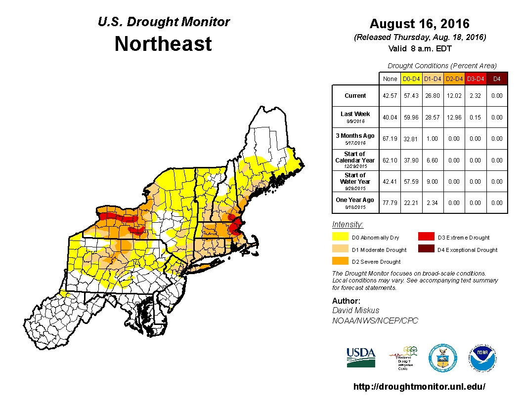U.S. Drought Monitor, Northeast, Aug. 18, 2016