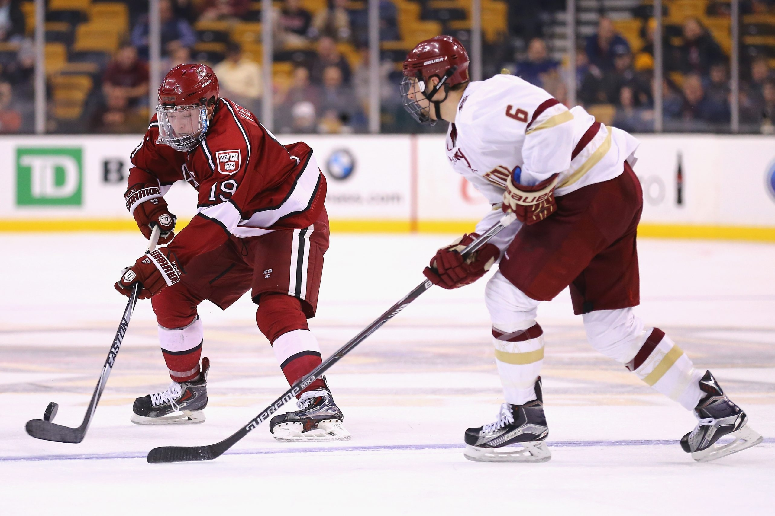 After the long buildup, Harvard star Jimmy Vesey, left, will have to play like a star in the NHL to justify all the hype.