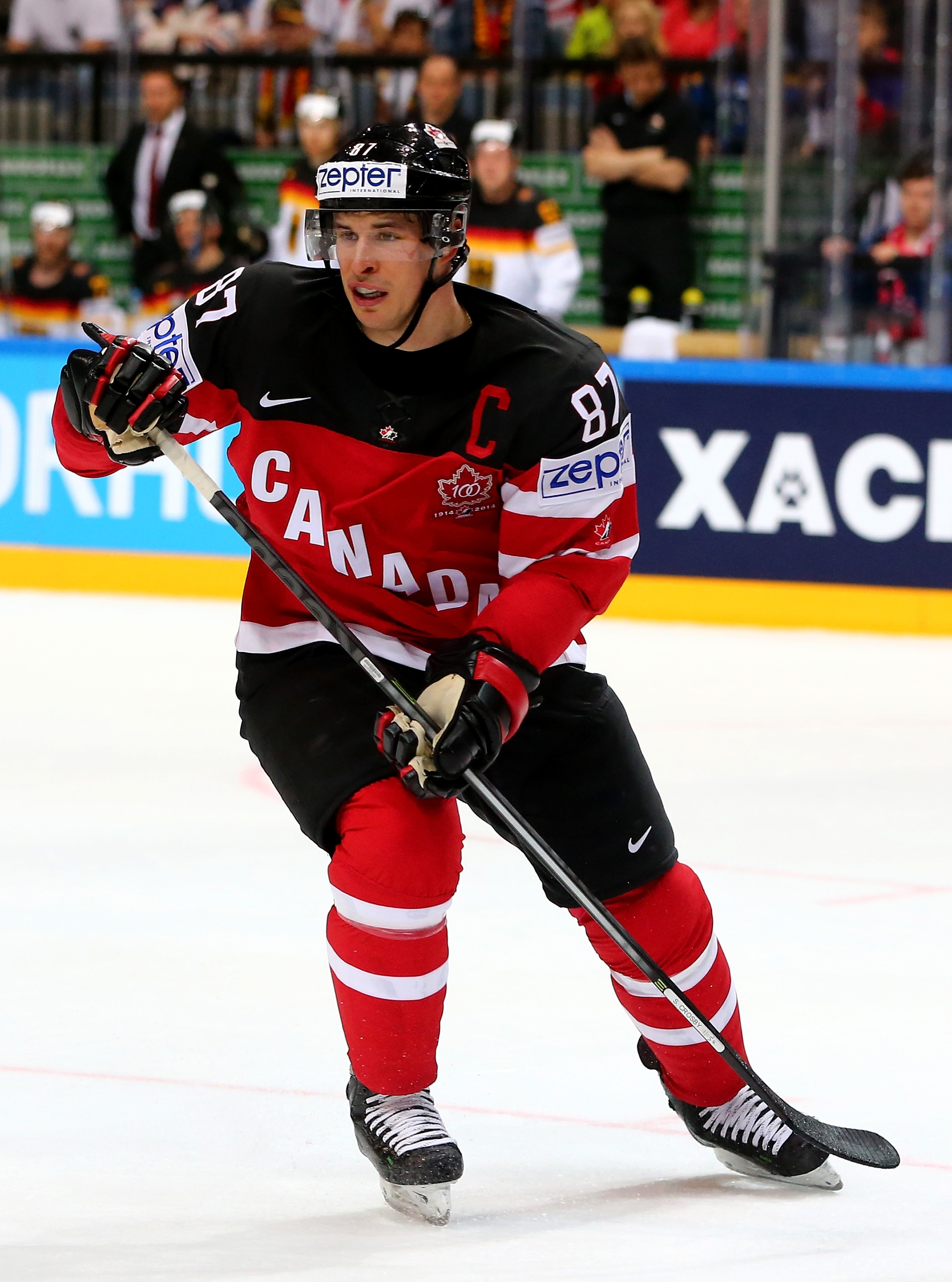 Sidney Crosby, of Canada, skates against Germany during an IIHF World Championship group match in 2015.