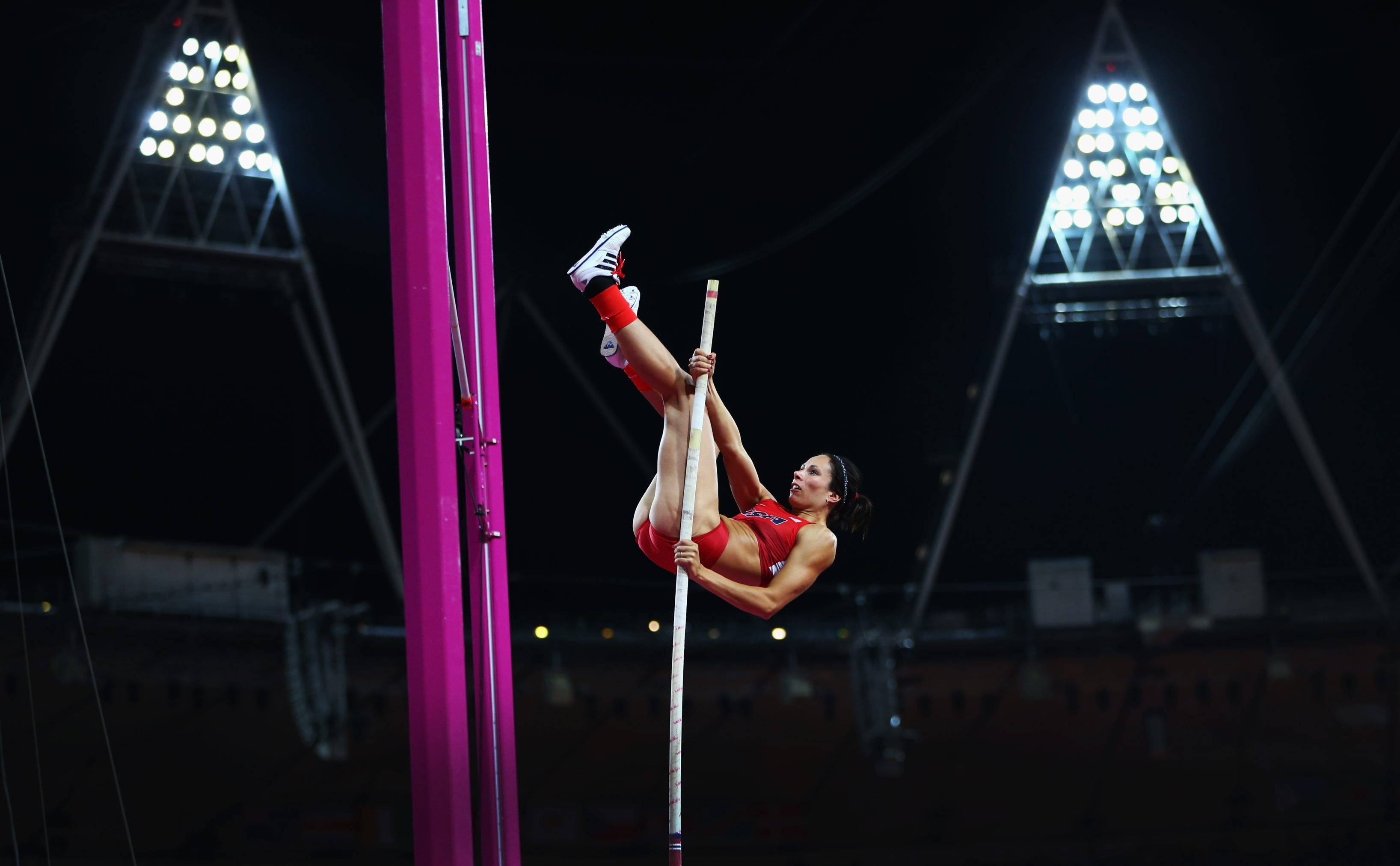 Jennifer Suhr of the United States competes in London in 2012, where she won the gold. (Getty Images)