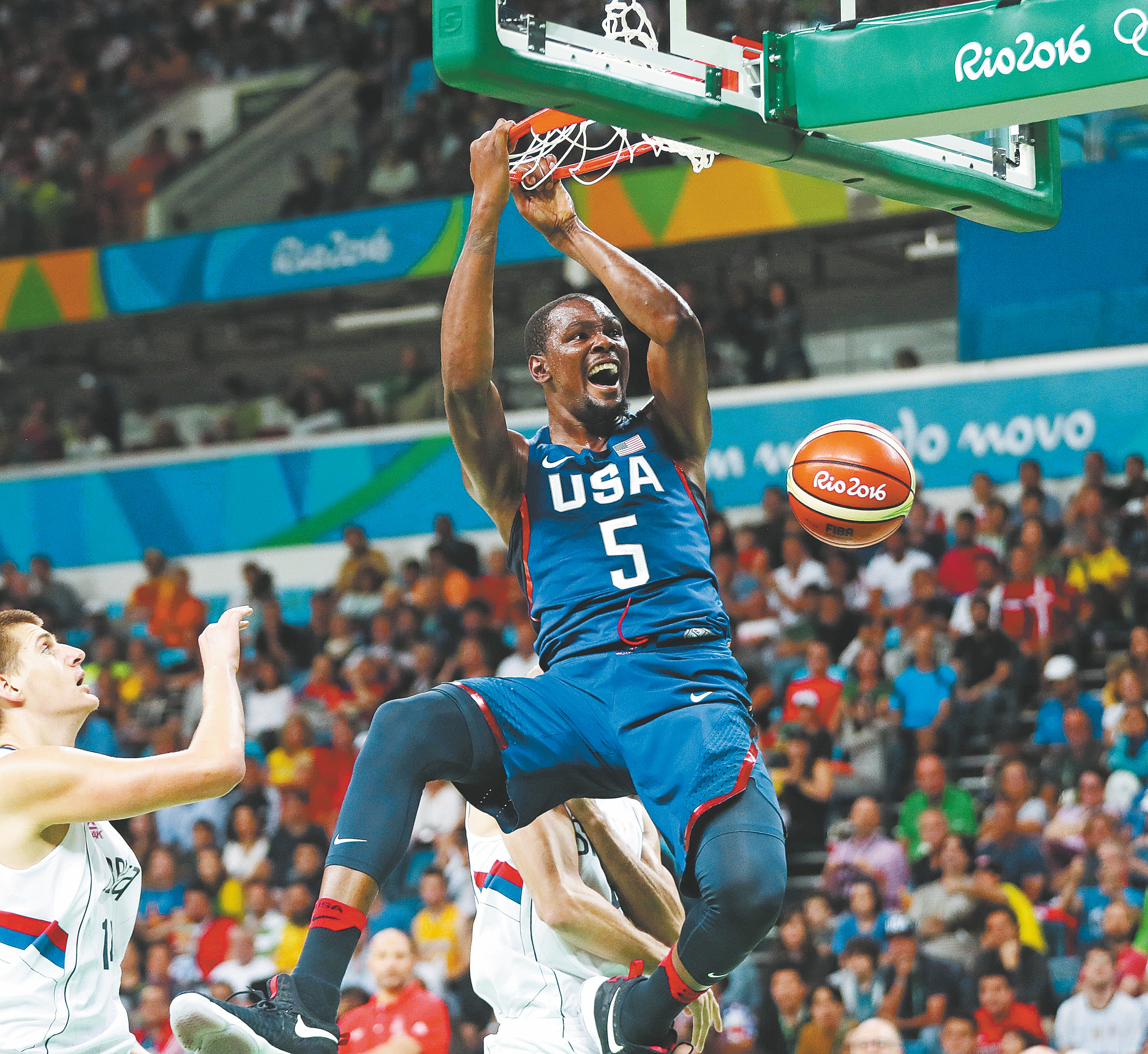 Kevin Durant took control of the gold-medal game against Serbia and scored 30 points in leading the United States to a one-sided victory on the final day of the Rio Games.