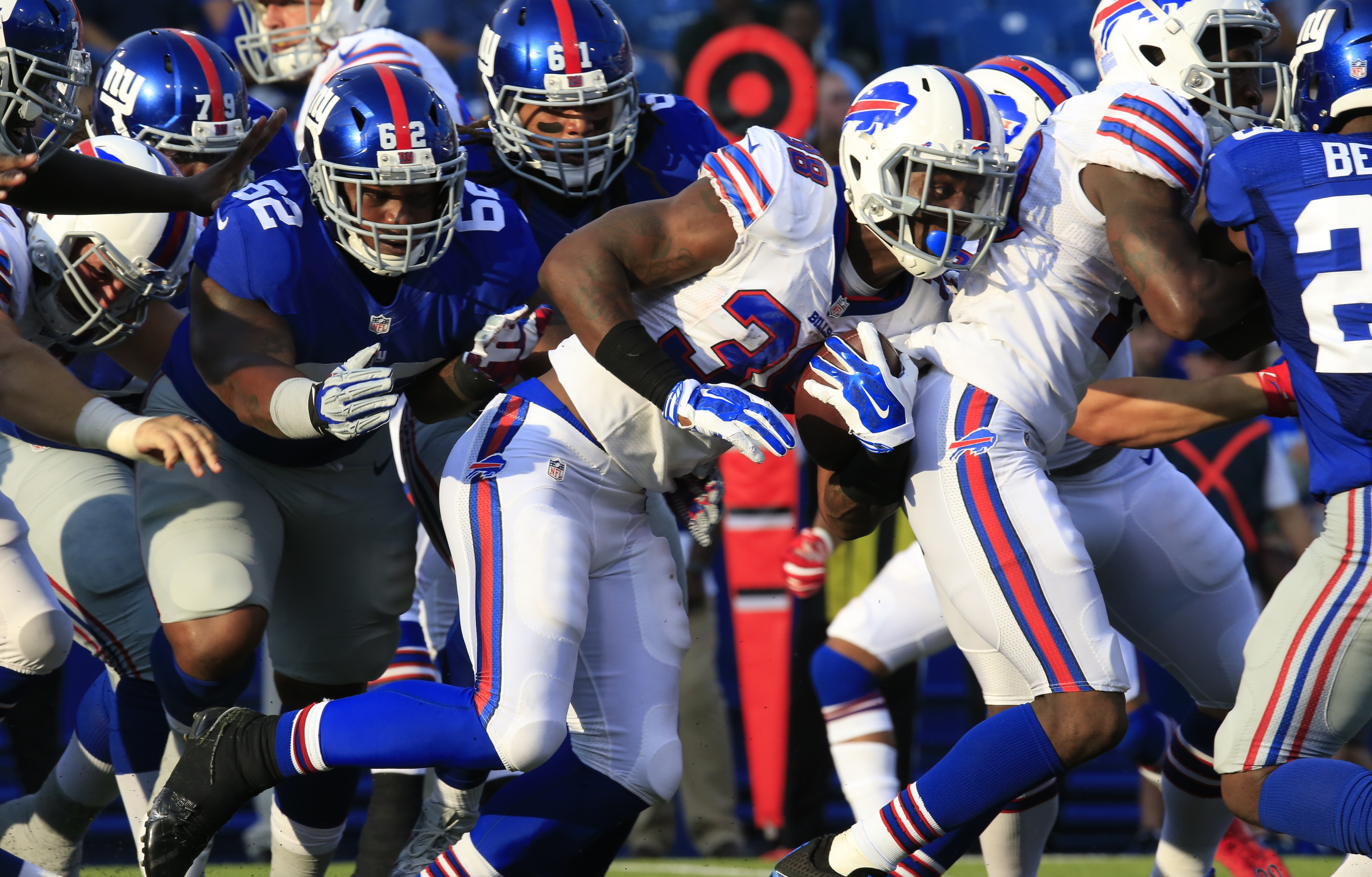 The Bills' James Wilder Jr. rushes against the New York Giants during a preseason game Aug. 20.