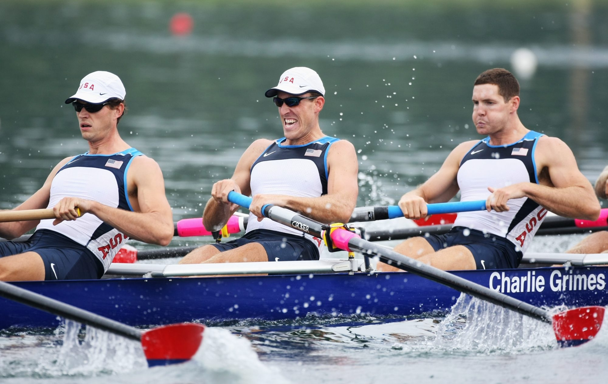 BEIJING - AUGUST 11:  (L-R) Josh Inman, Steven Coppola and Daniel Walsh of the United States compete in the Men's Eight Heat 2  at the Shunyi Olympic Rowing-Canoeing Park on Day 3 of the Beijing 2008 Olympic Games on August 11, 2008 in Beijing, China.  (Photo by Al Bello/Getty Images)