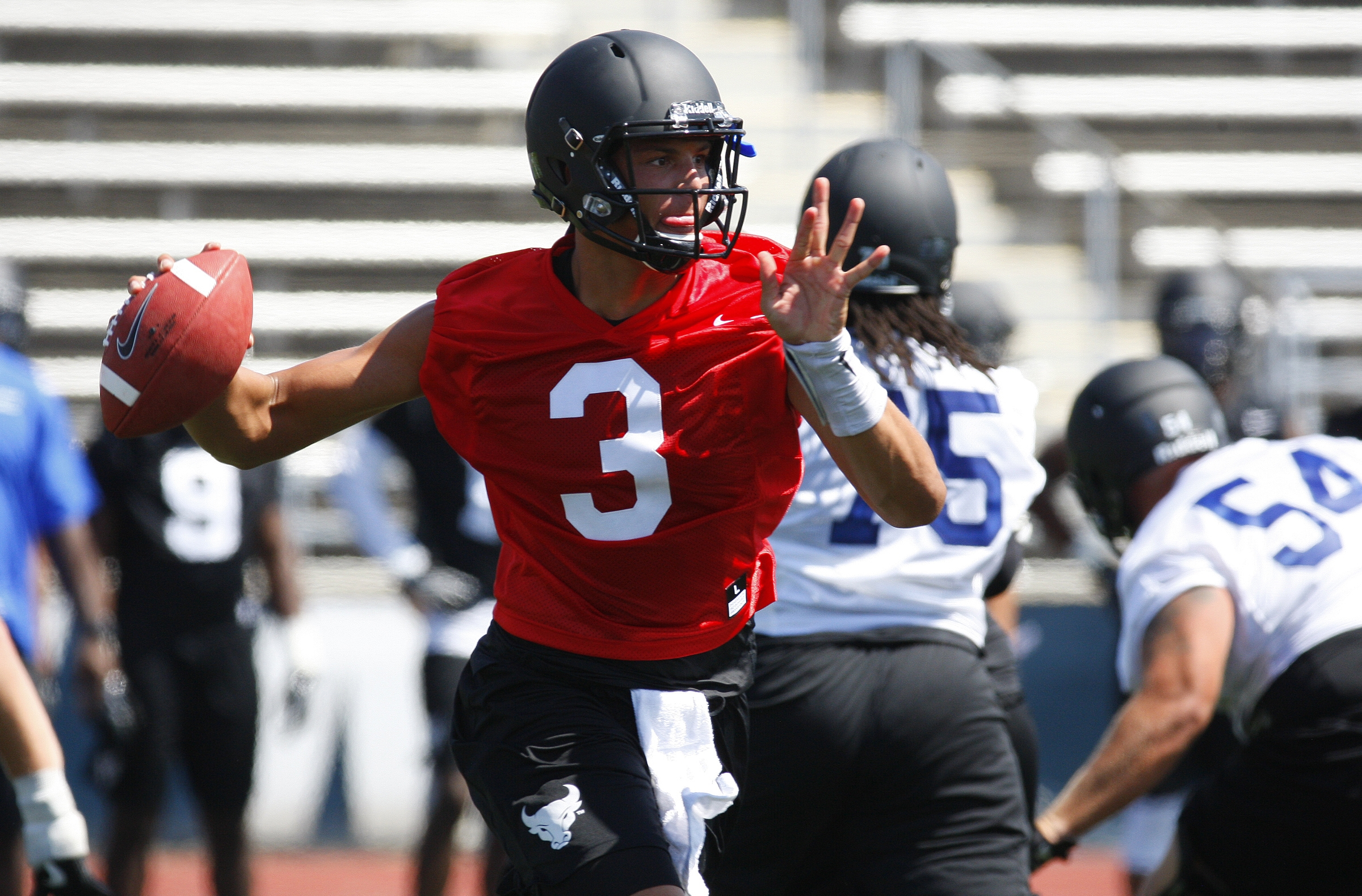 University at Buffalo quarterback Tyree Jackson has grown another inch since spring practice and now stands 6-foot-7.