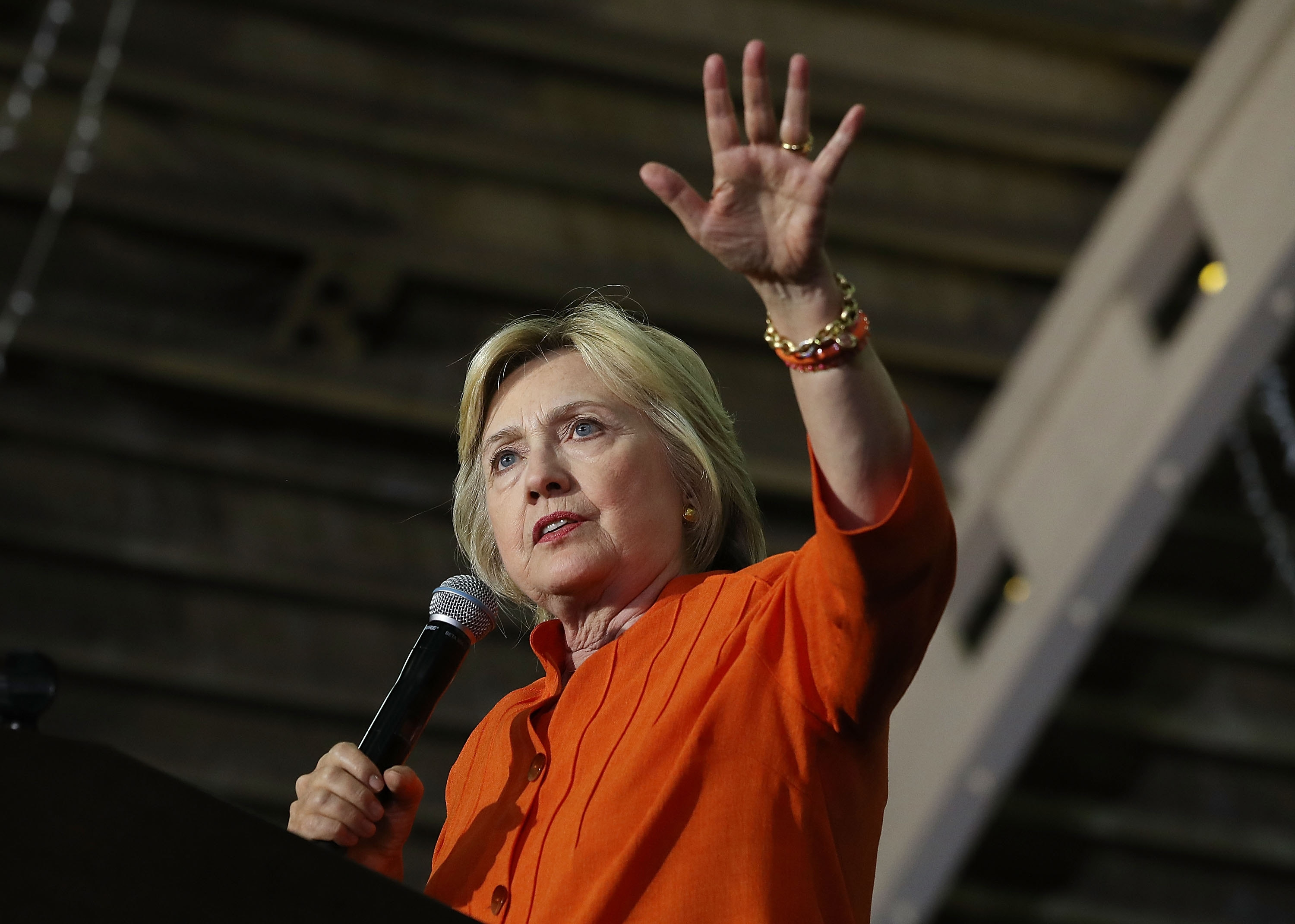 ST PETERSBURG, FL - AUGUST 08:  Democratic presidential nominee Hillary Clinton speaks during a campaign rally at the Coliseum on August 8, 2016 in St. Petersburg, Florida. A new national poll shows Clinton's lead expanding over Republican rival Donald Trump.  (Photo by Joe Raedle/Getty Images)