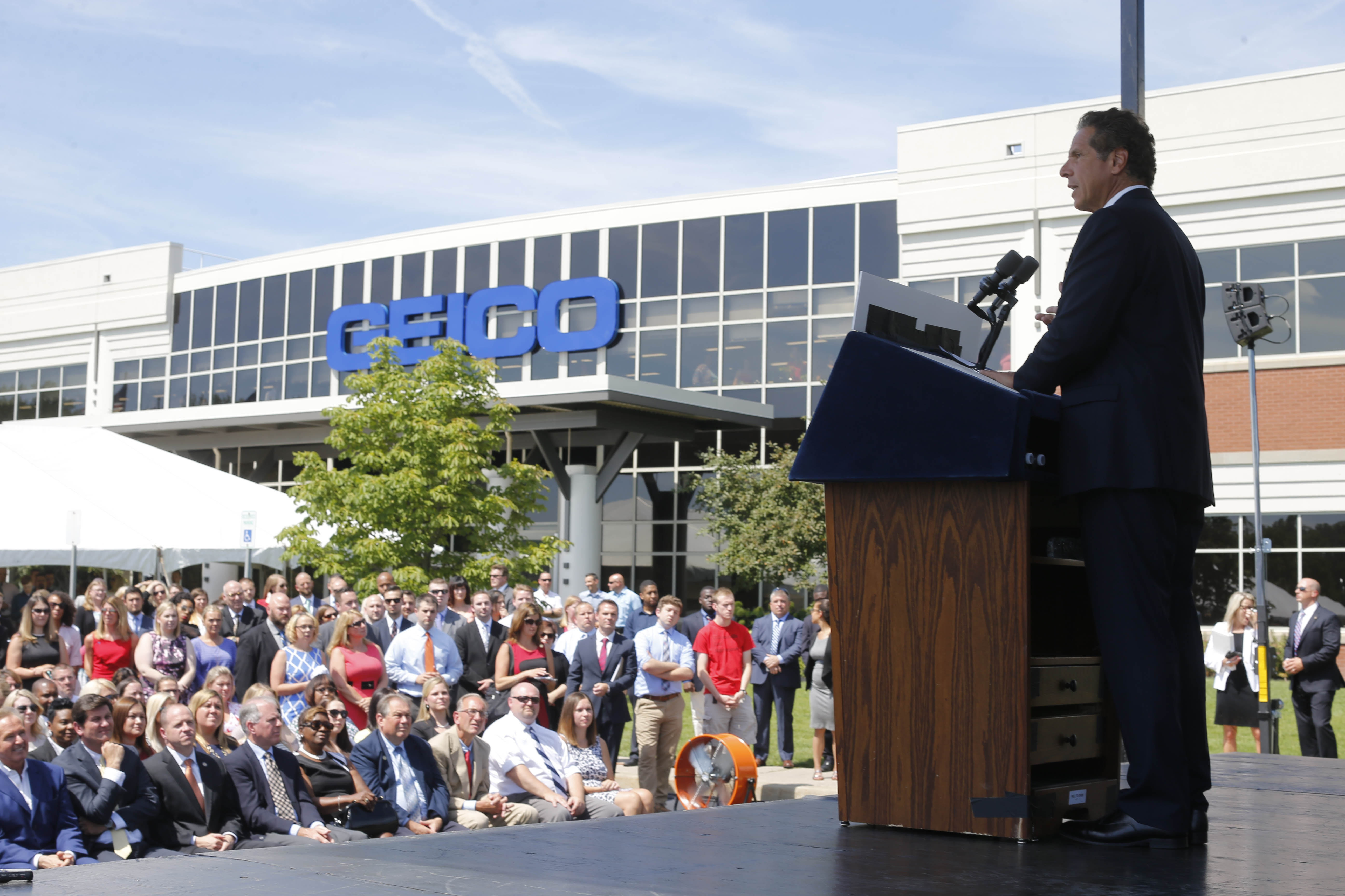 New York Gov. Andrew Cuomo speaks during an event to announce that Geico will add 600 new jobs to its call center in Amherst. (Derek Gee/Buffalo News)